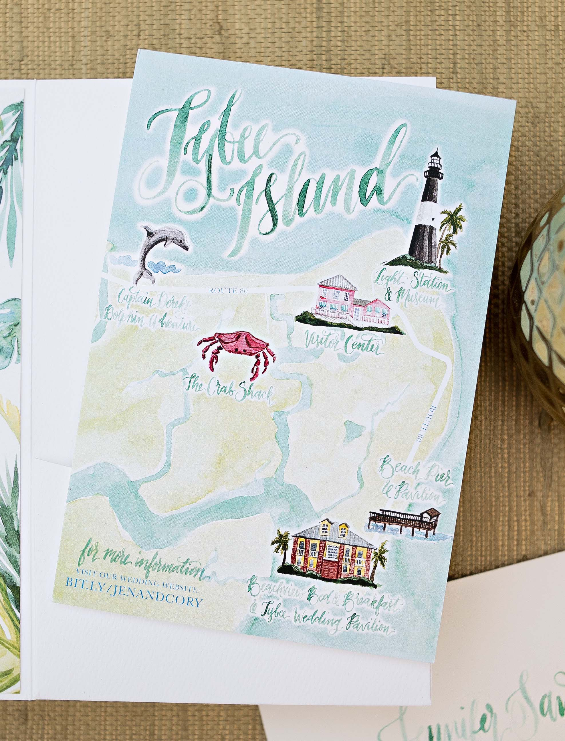 Tybee Island Watercolor Wedding Map