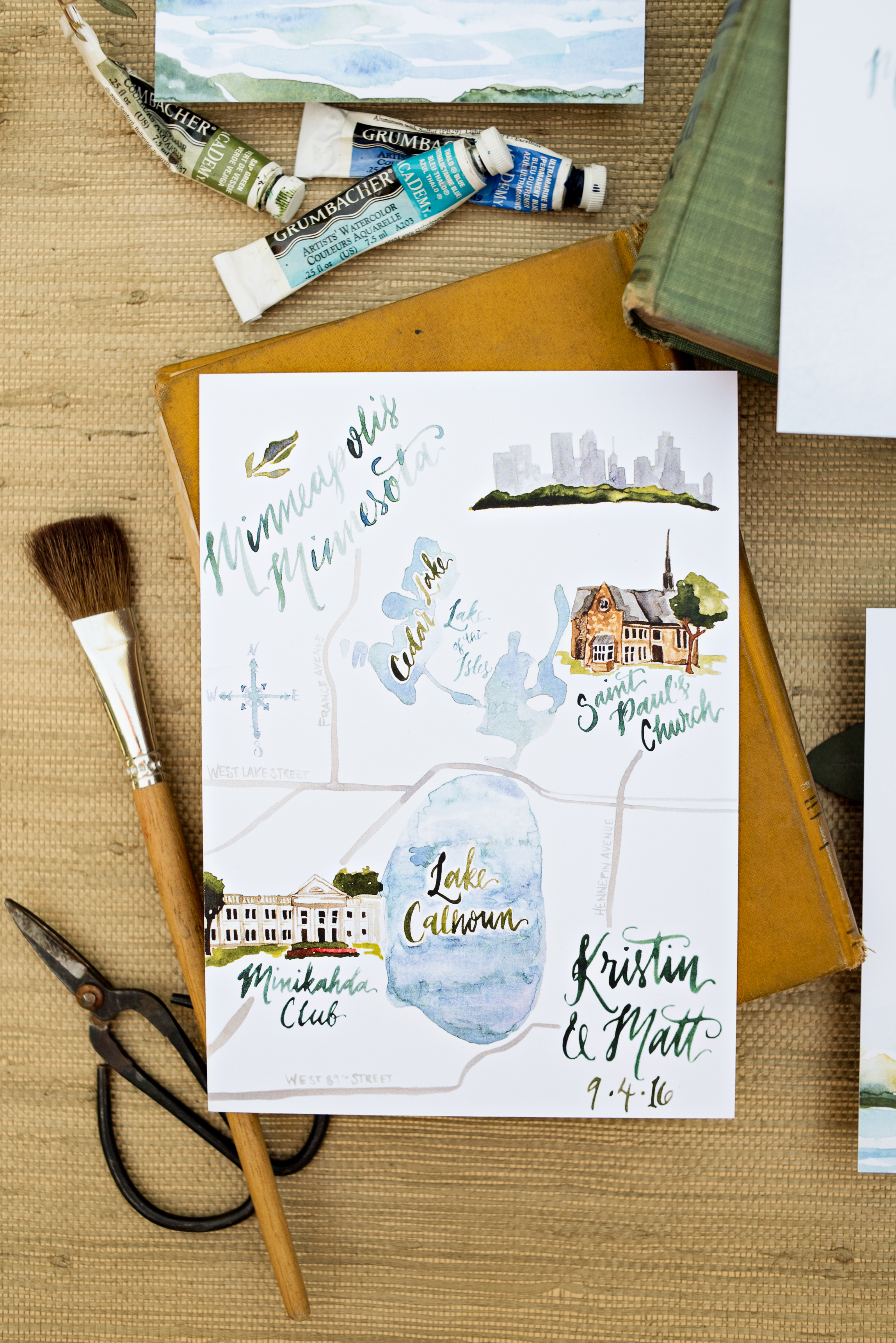 Minneapolis Minnesota Watercolor Wedding Map