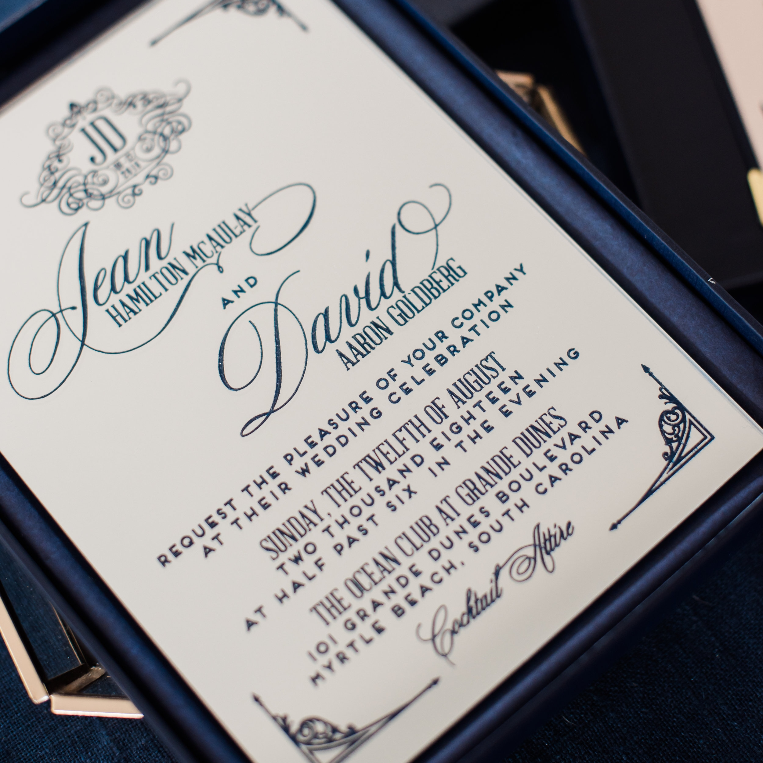 ENGRAVED MIRRORED ACRYLIC WEDDING INVITATIONS