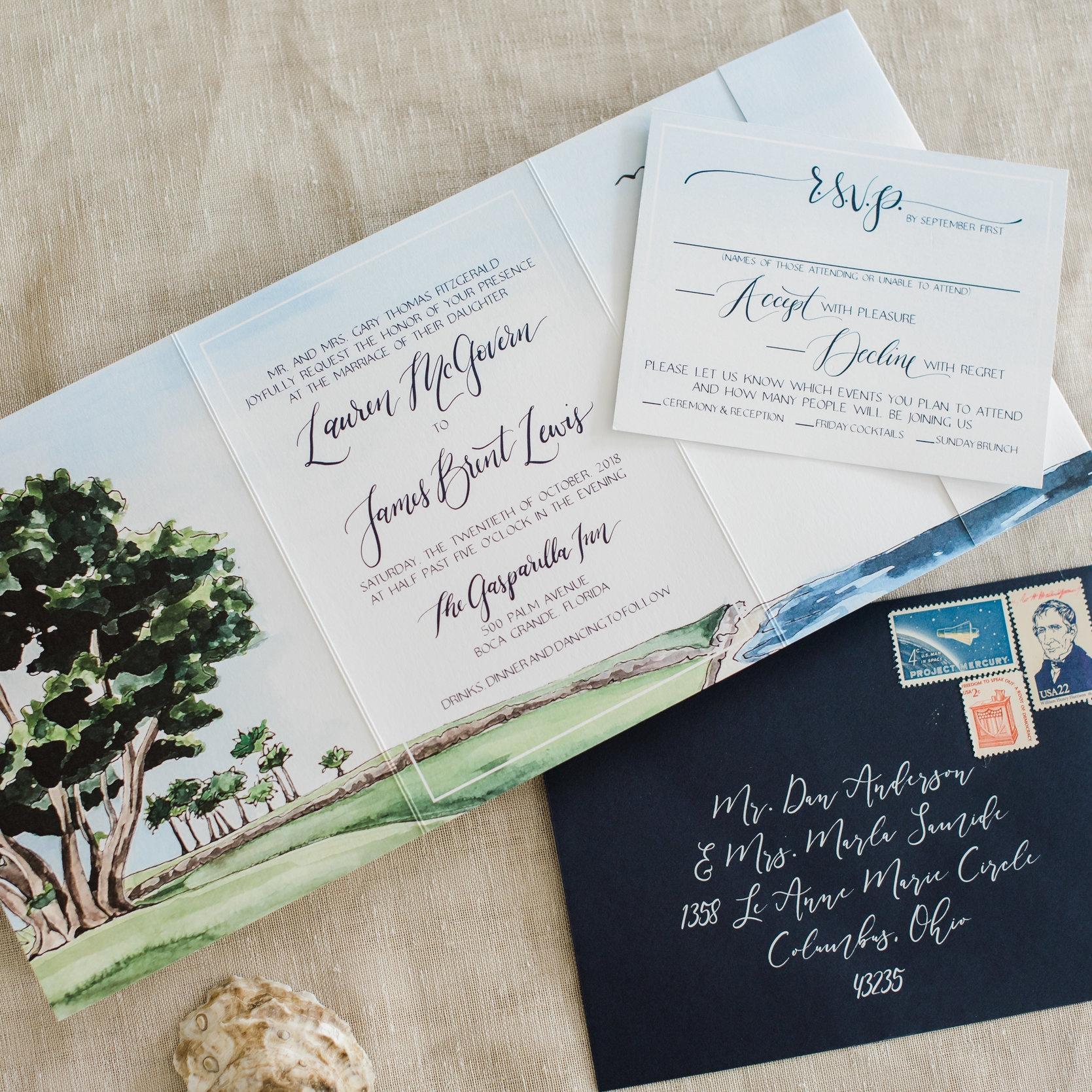 BOCA GRANDE GASPARILLA ISLAND WEDDING INVITATIONS