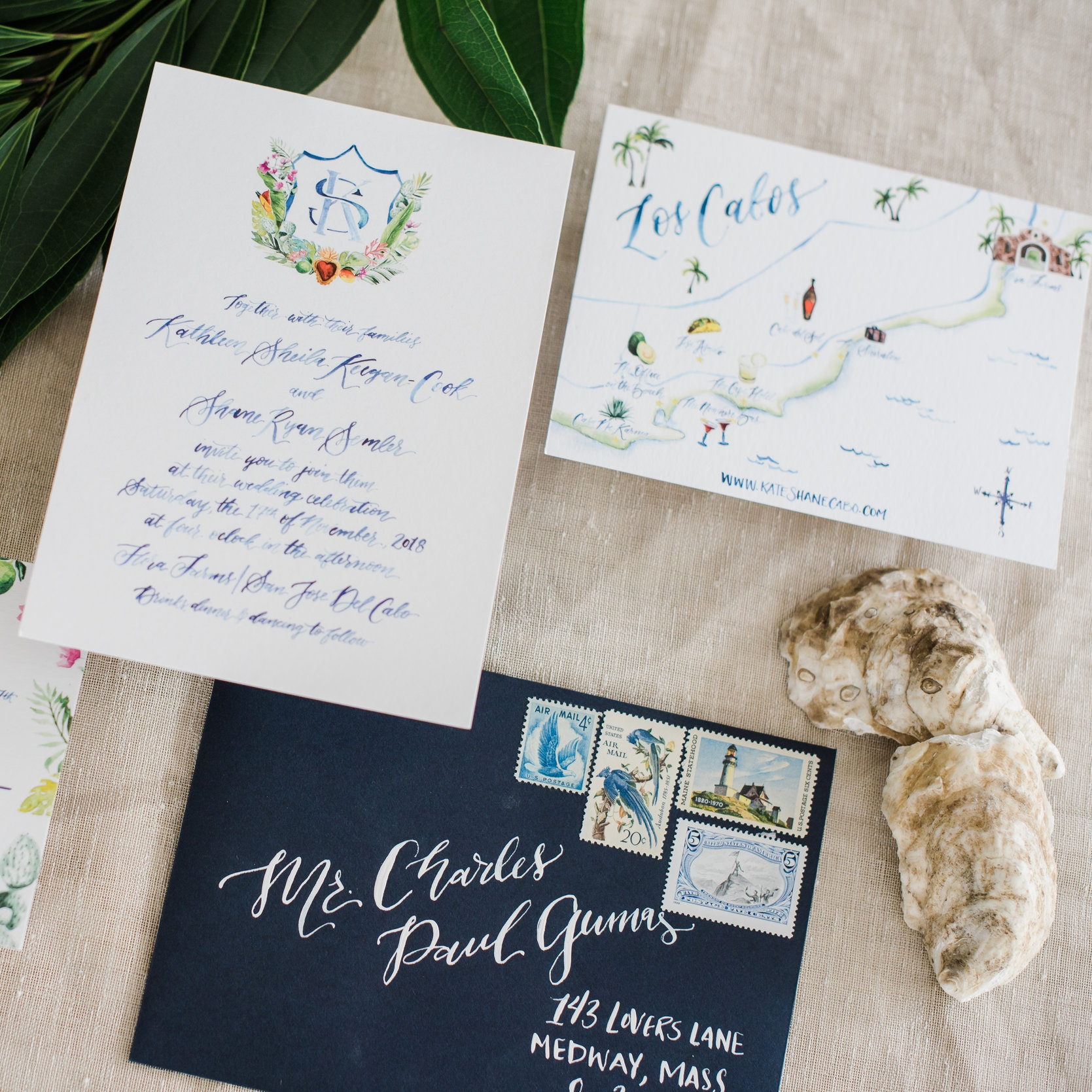 LOS CABOS MEXICO WATERCOLOR WEDDING INVITATIONS WITH TROPICAL CREST