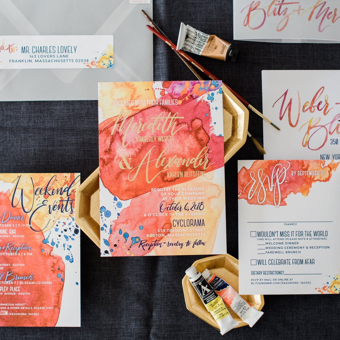 VIBRANT WATERCOLOR WASHES MODERN WEDDING INVITATIONS