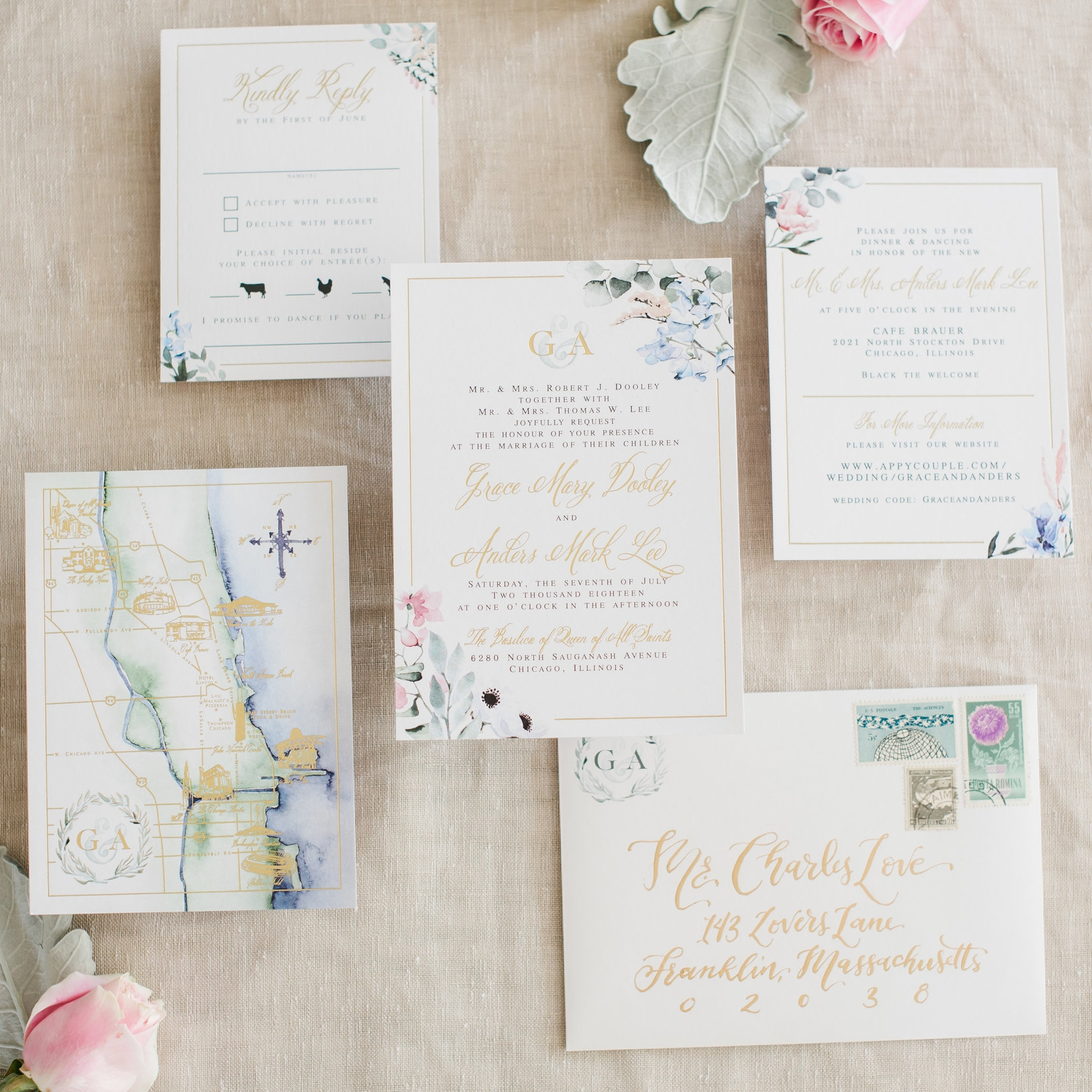 CHICAGO MAP AND FLORAL WATERCOLOR WEDDING INVITATIONS