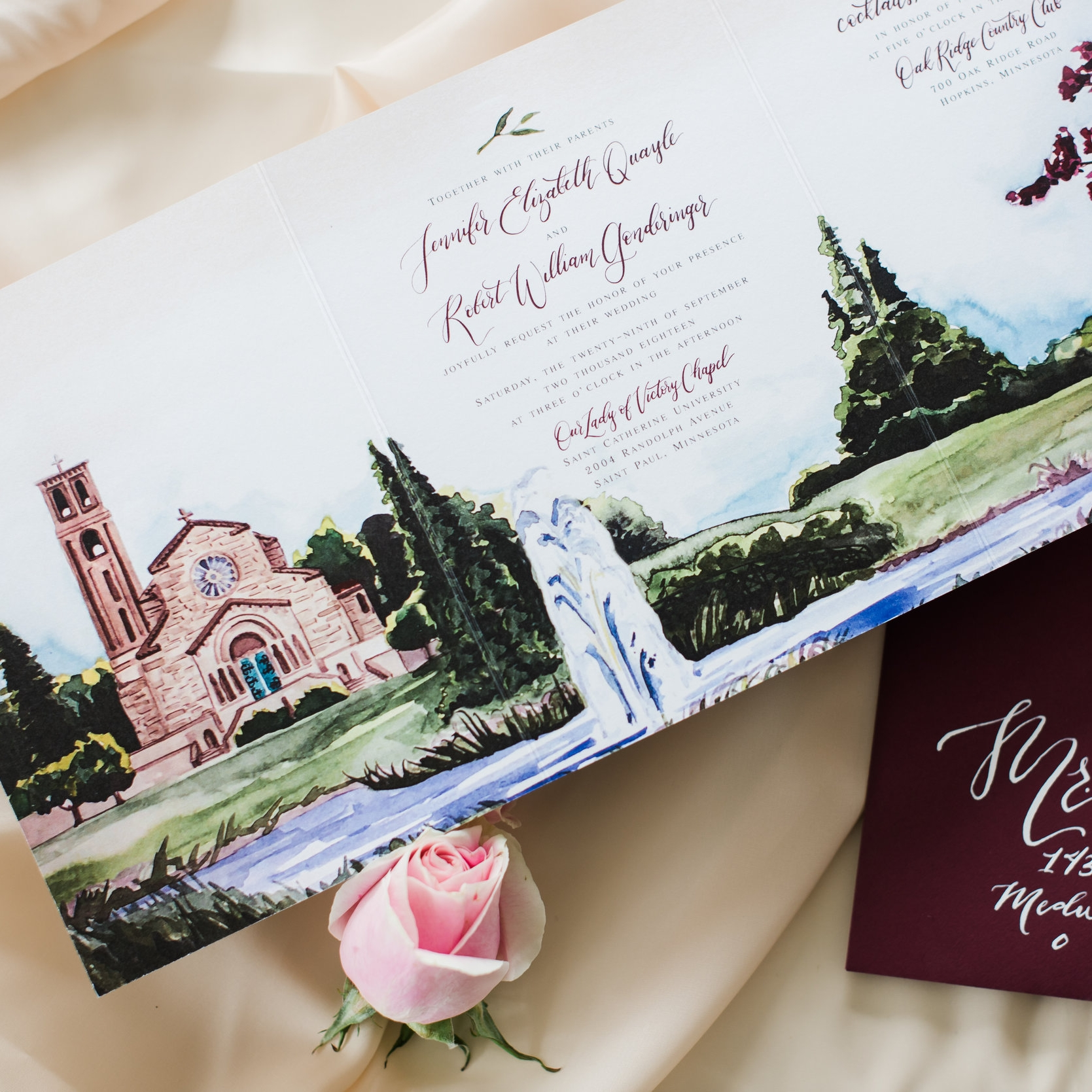 OUR LADY OF VICTORY CHAPEL VENUE WATERCOLOR INVITATIONS