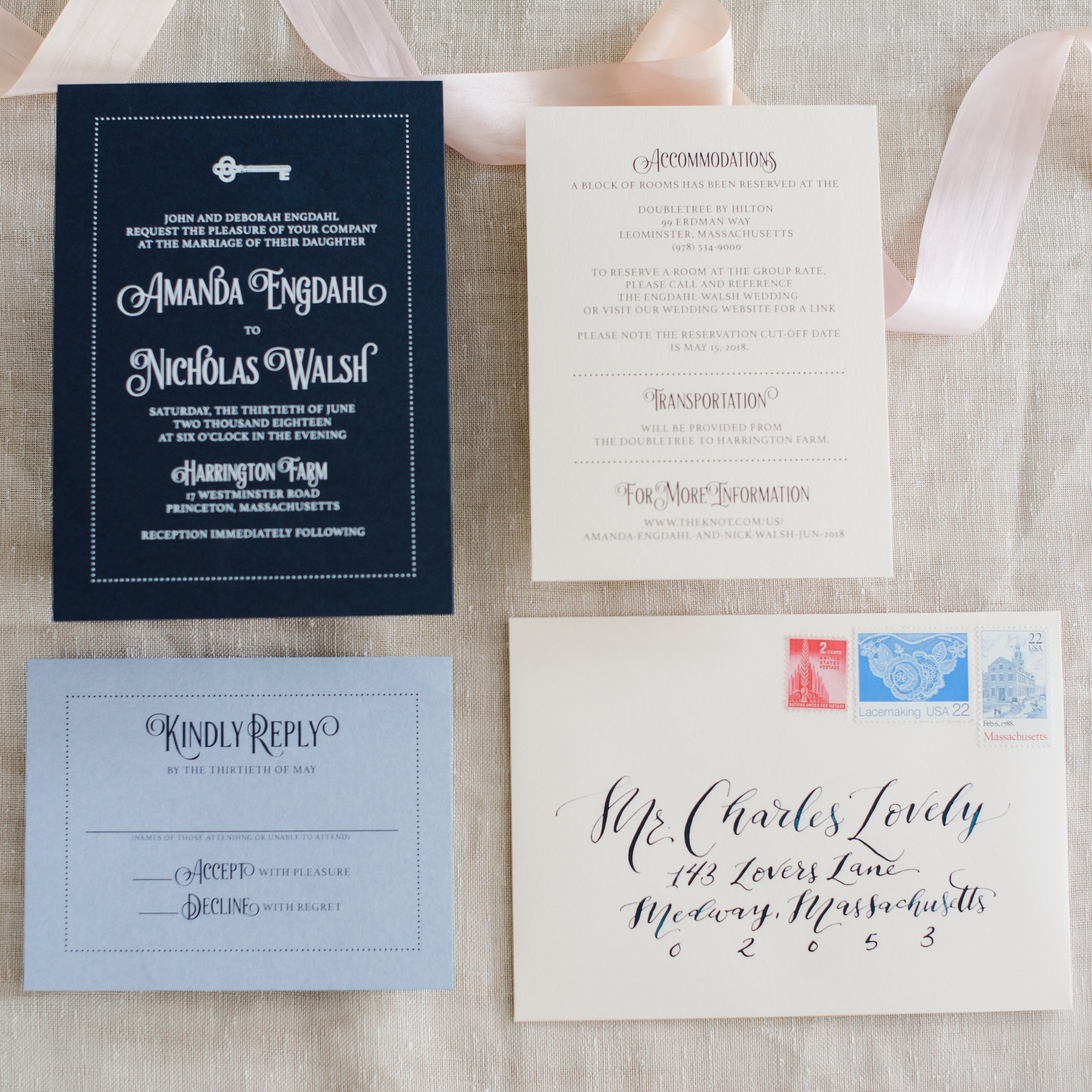 NAVY AND WHITE KEY MODERN WEDDING INVITATIONS