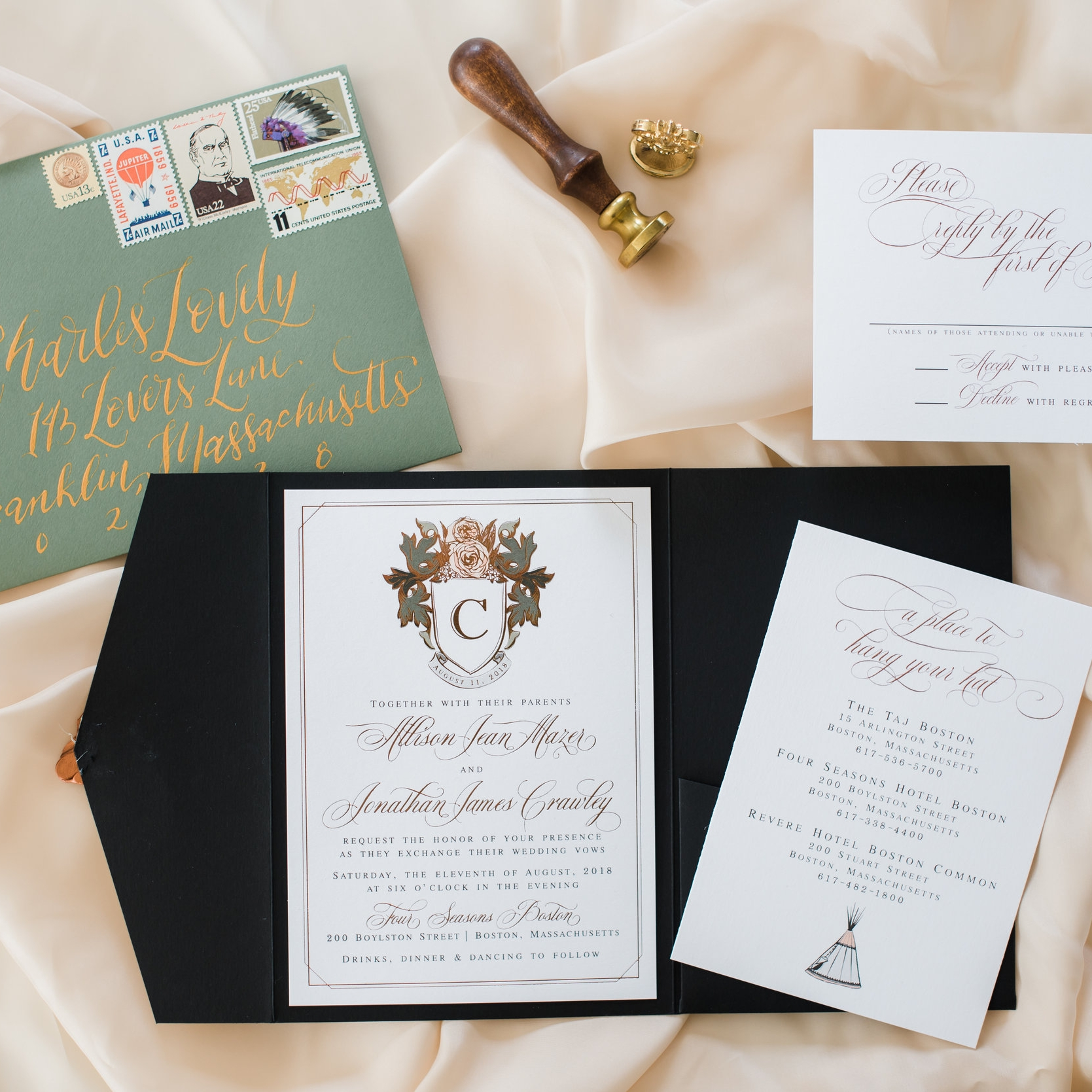 FLORAL CREST CLASSIC BRONZE FOIL WEDDING INVITATIONS