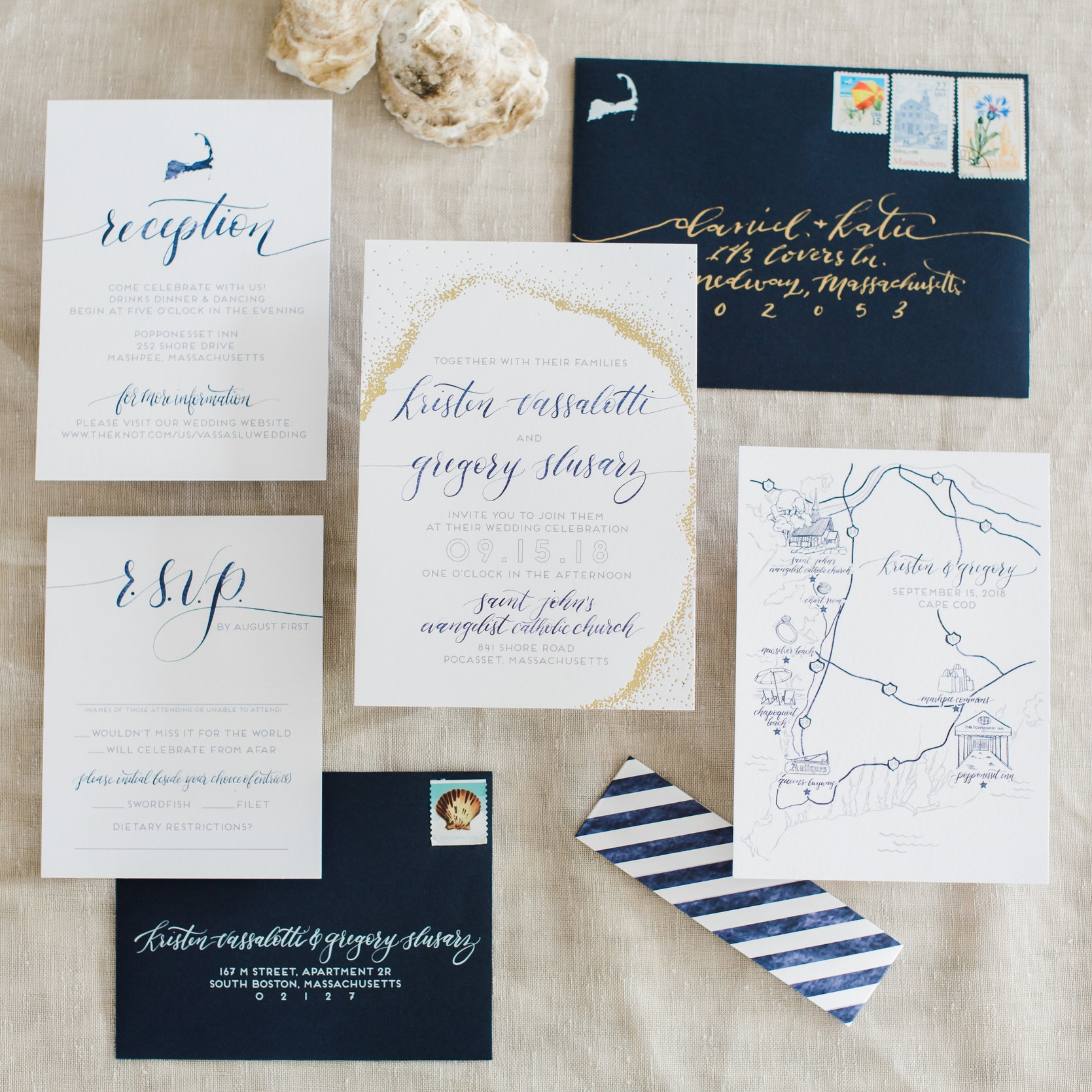 GOLD DOT NAUTICAL CAPE COD CUSTOM MAP INVITATIONS