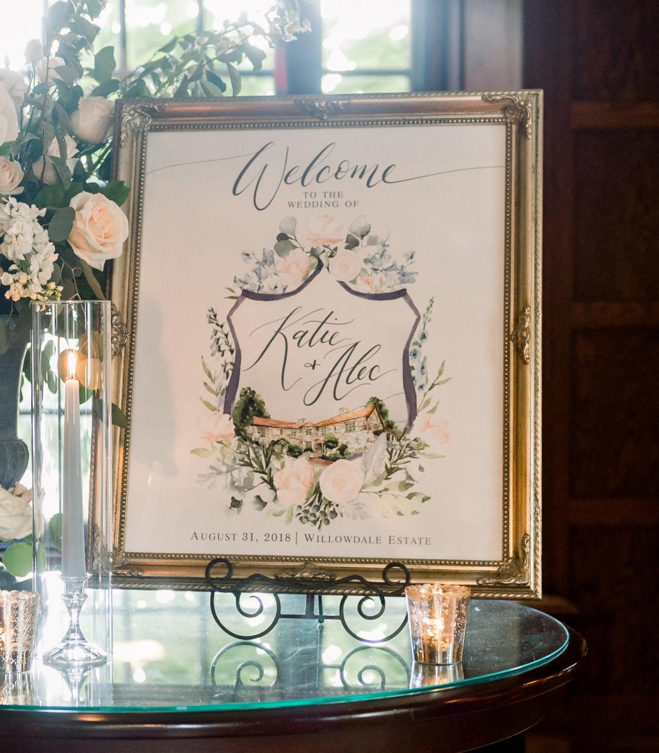 wedding crest welcome sign