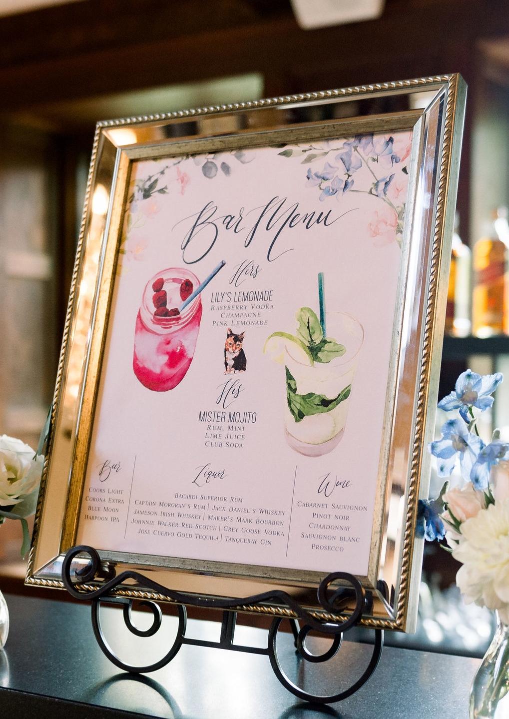 watercolor bar menu drinks pet portrait wedding