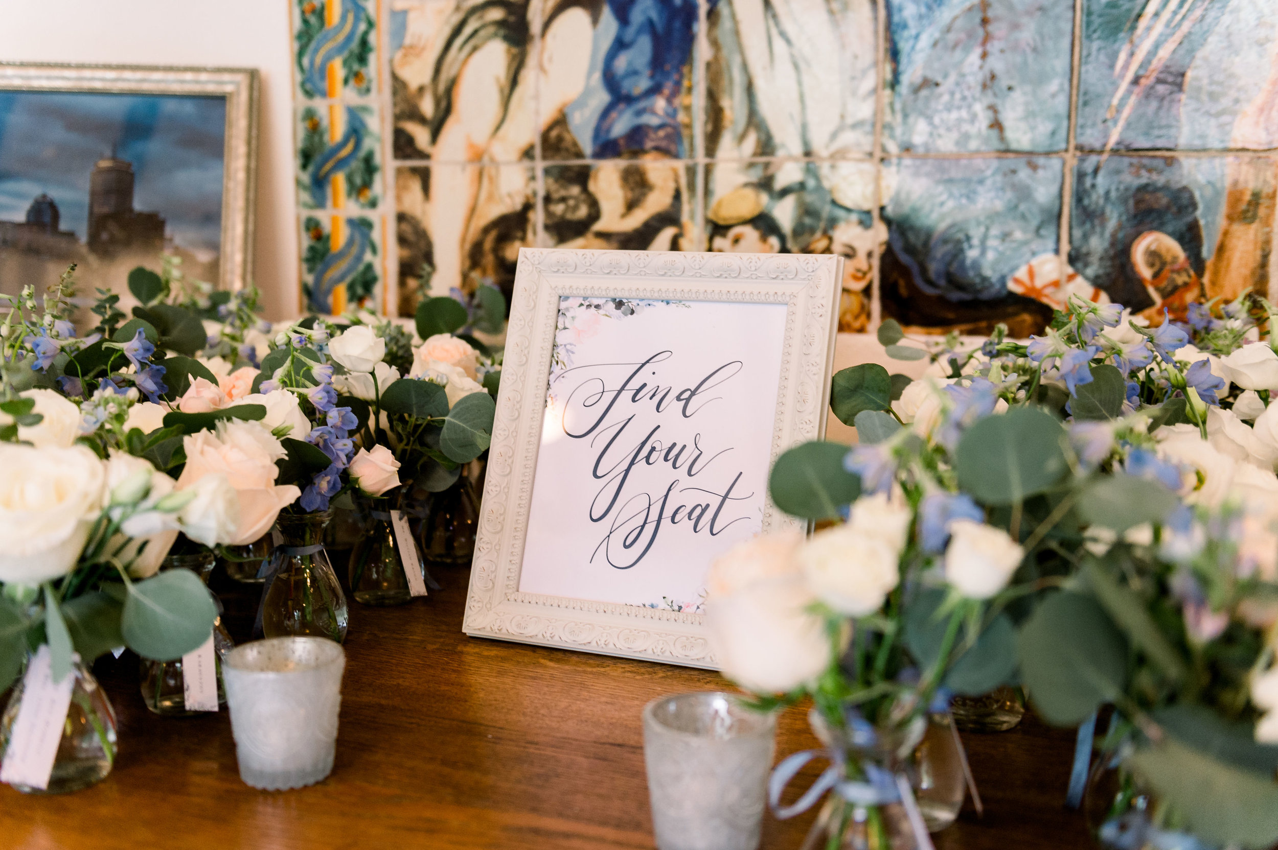 find your seat wedding watercolor sign
