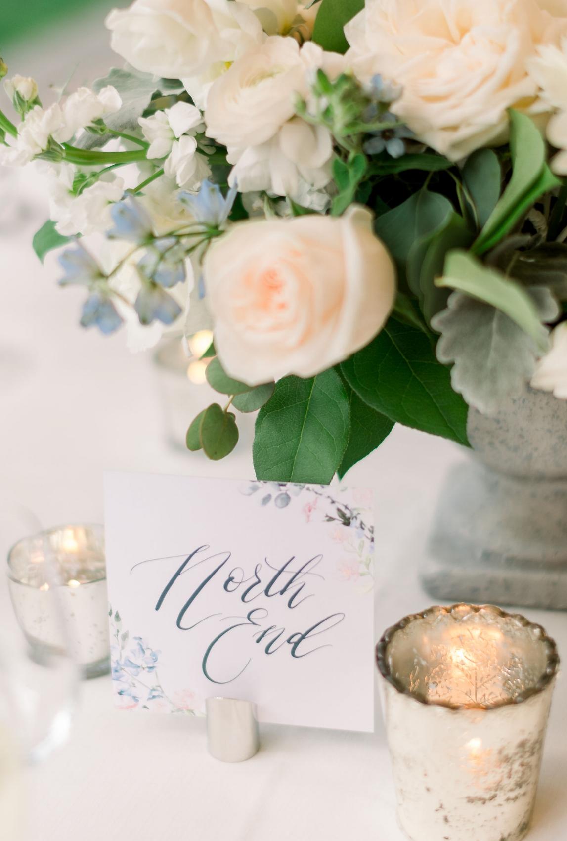 watercolor flower wedding table numbers