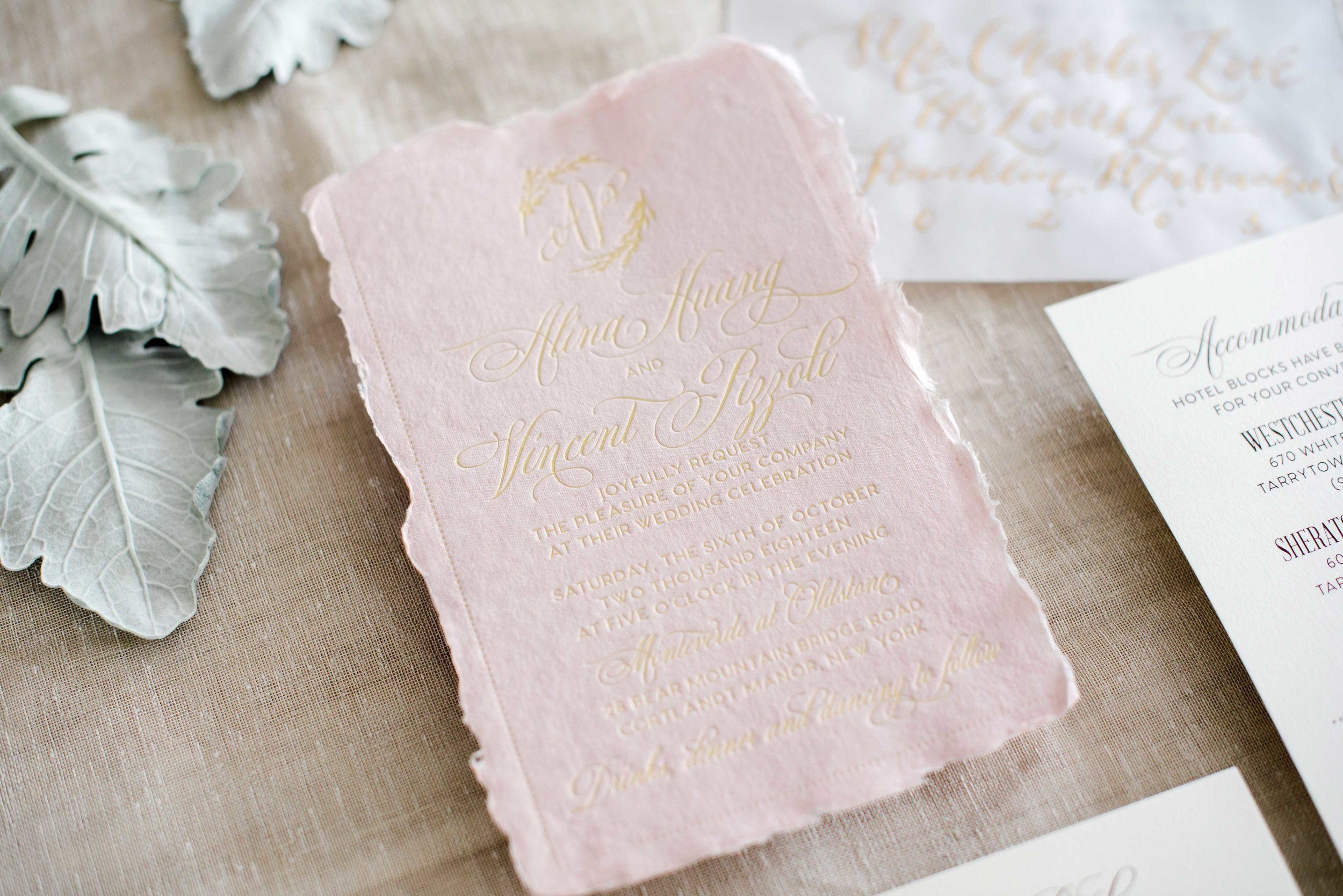 BLUSH HANDMADE PAPER AND GOLD FOIL WEDDING INVITATIONS