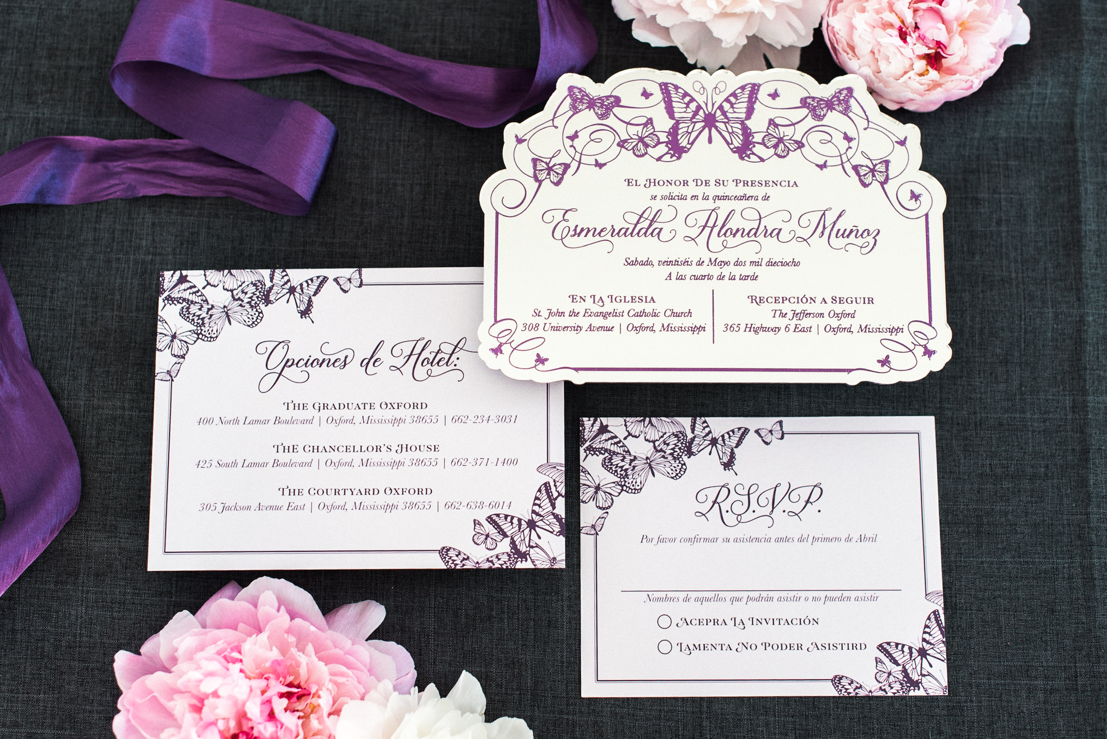ENGRAVED MIRRORED ACRLIC BUTTERFLY INVITATION