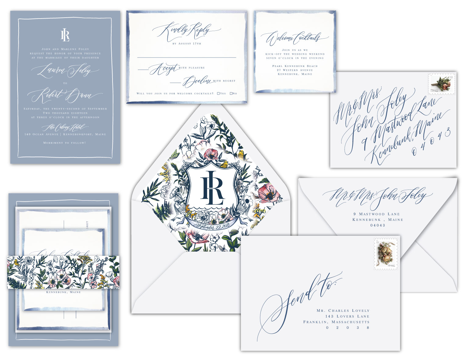 Custom wedding invitation design mockup