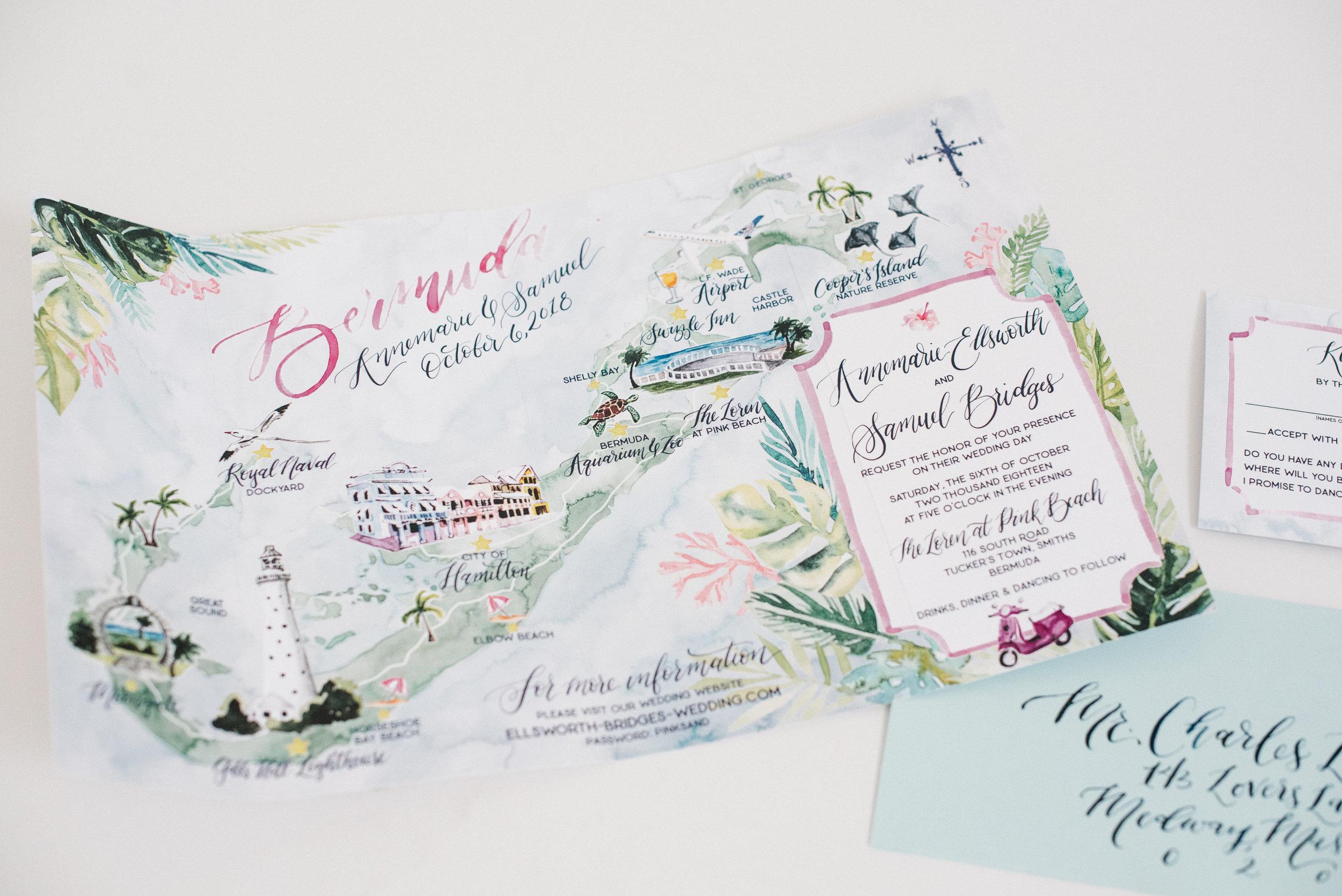 LARGE BERMUDA MAP WATERCOLOR WEDDING INVITATION