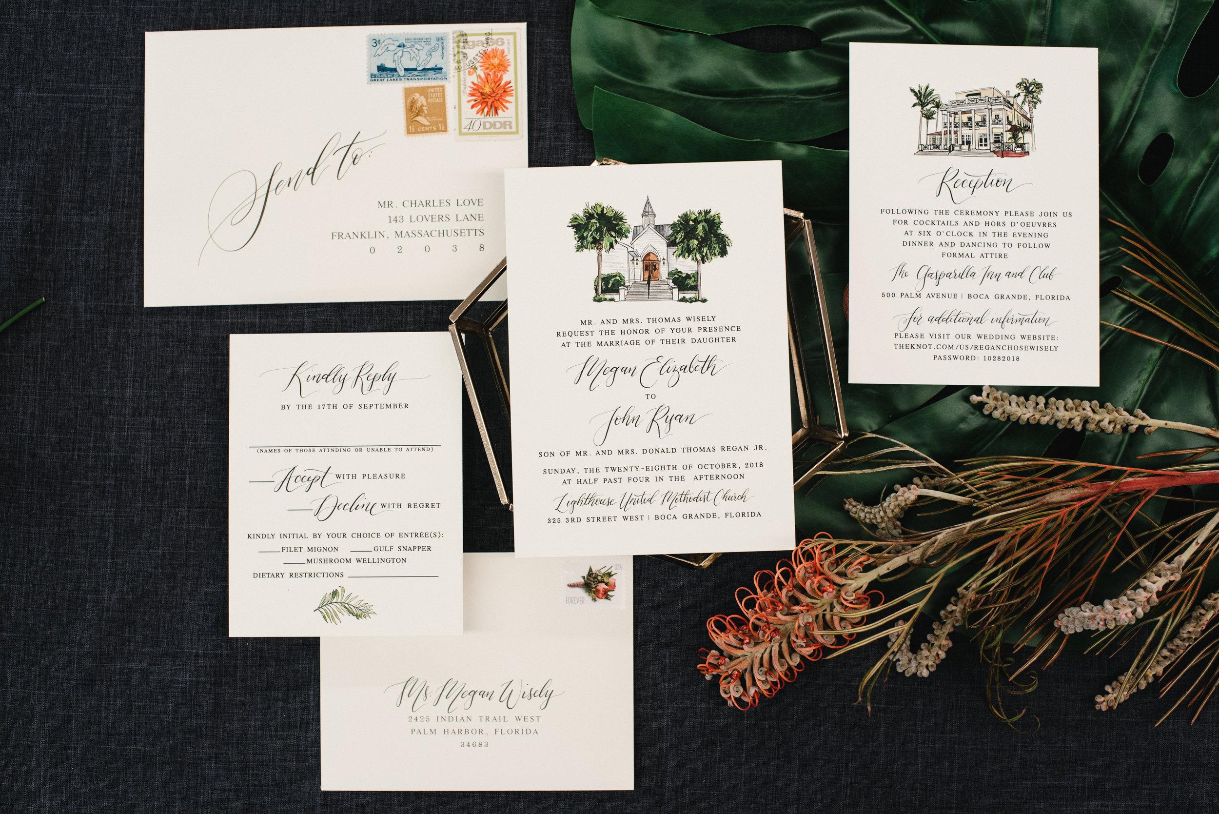 BOCA GRANDE GASPARILLA INN WATERCOLOR WEDDING INVITATIONS