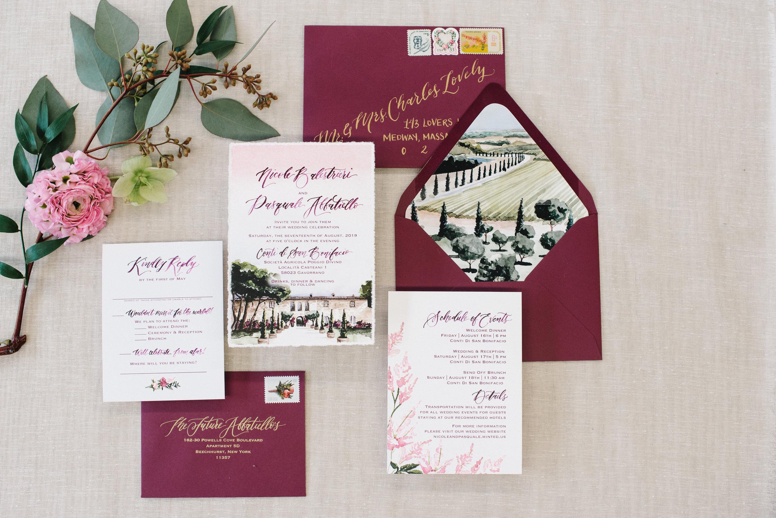ITALIAN WINERY & VINEYARD WATERCOLOR WEDDING INVITATION, CONTI DI SAN BENIFACIO