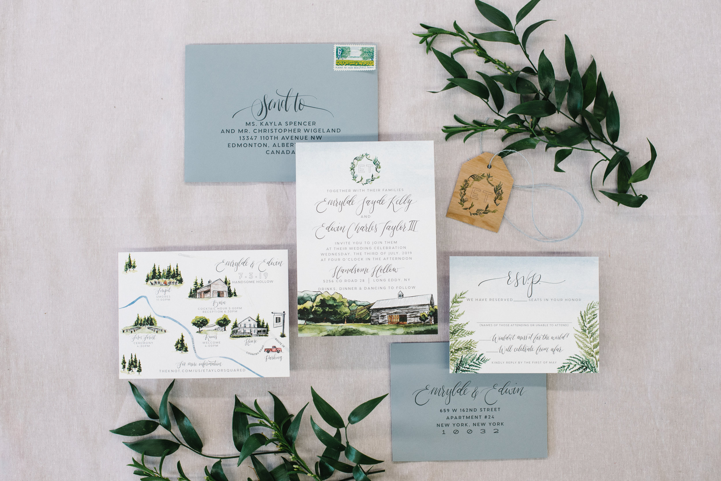 HANDSOME HOLLOW, NEW YORK, WATERCOLOR WEDDING INVITATION