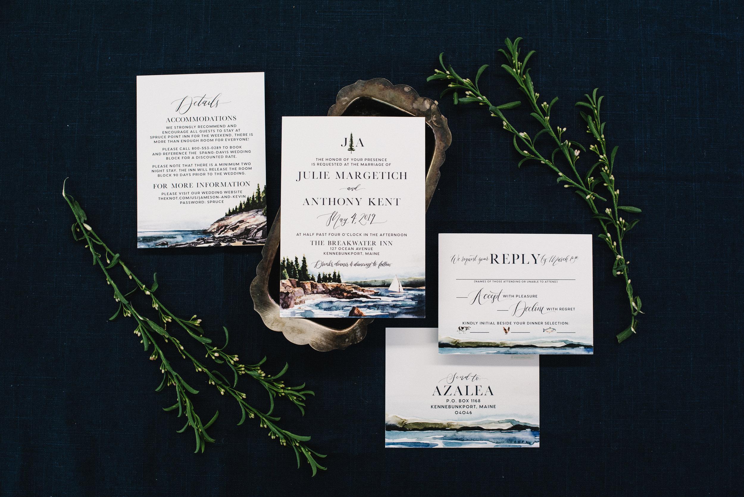 MAINE ROCKY SHORELINE WATERCOLOR WEDDING INVITATIONS