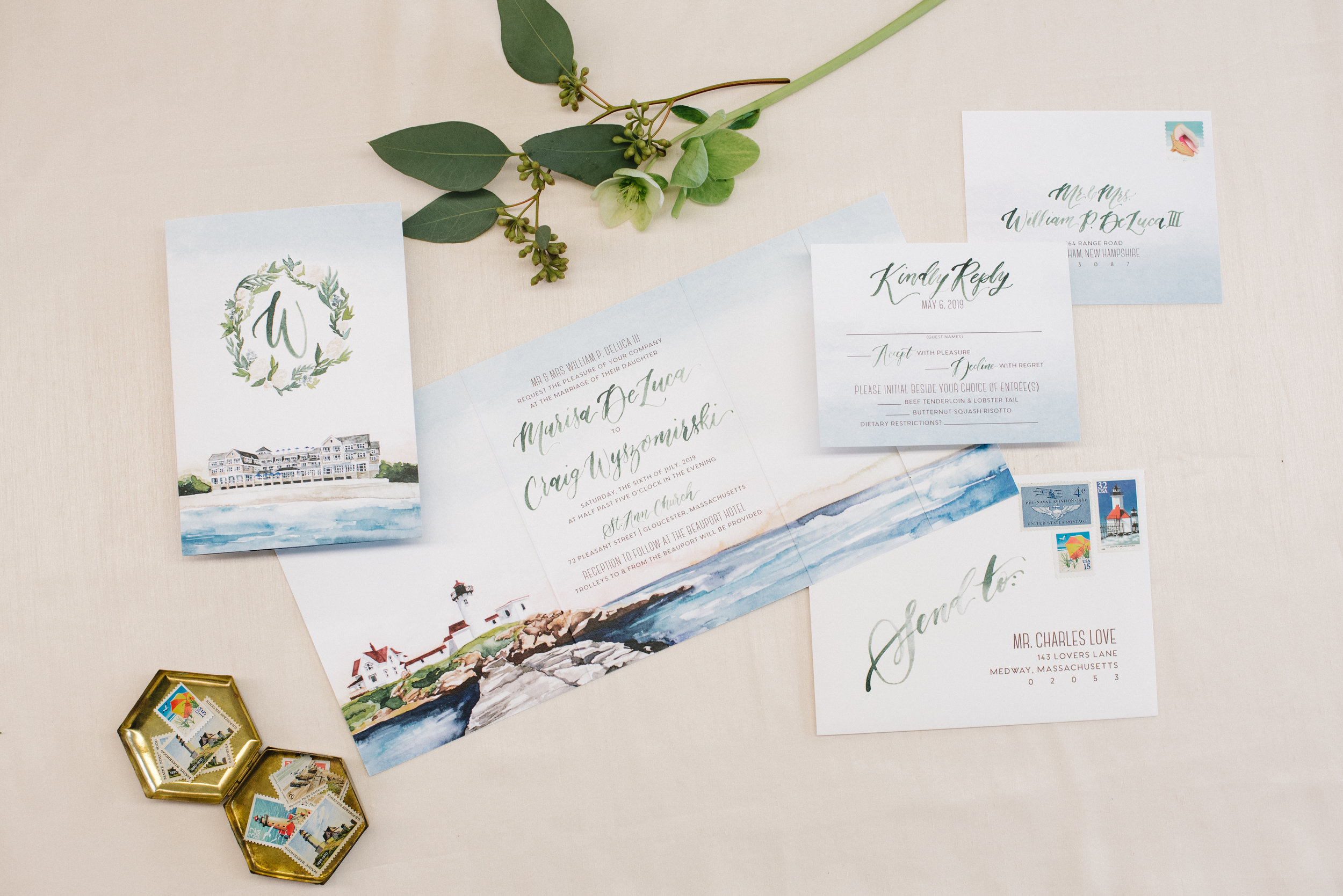 BEAUPORT HOTEL, GLOUCESTER MA, WATERCOLOR WEDDING INVITATIONS