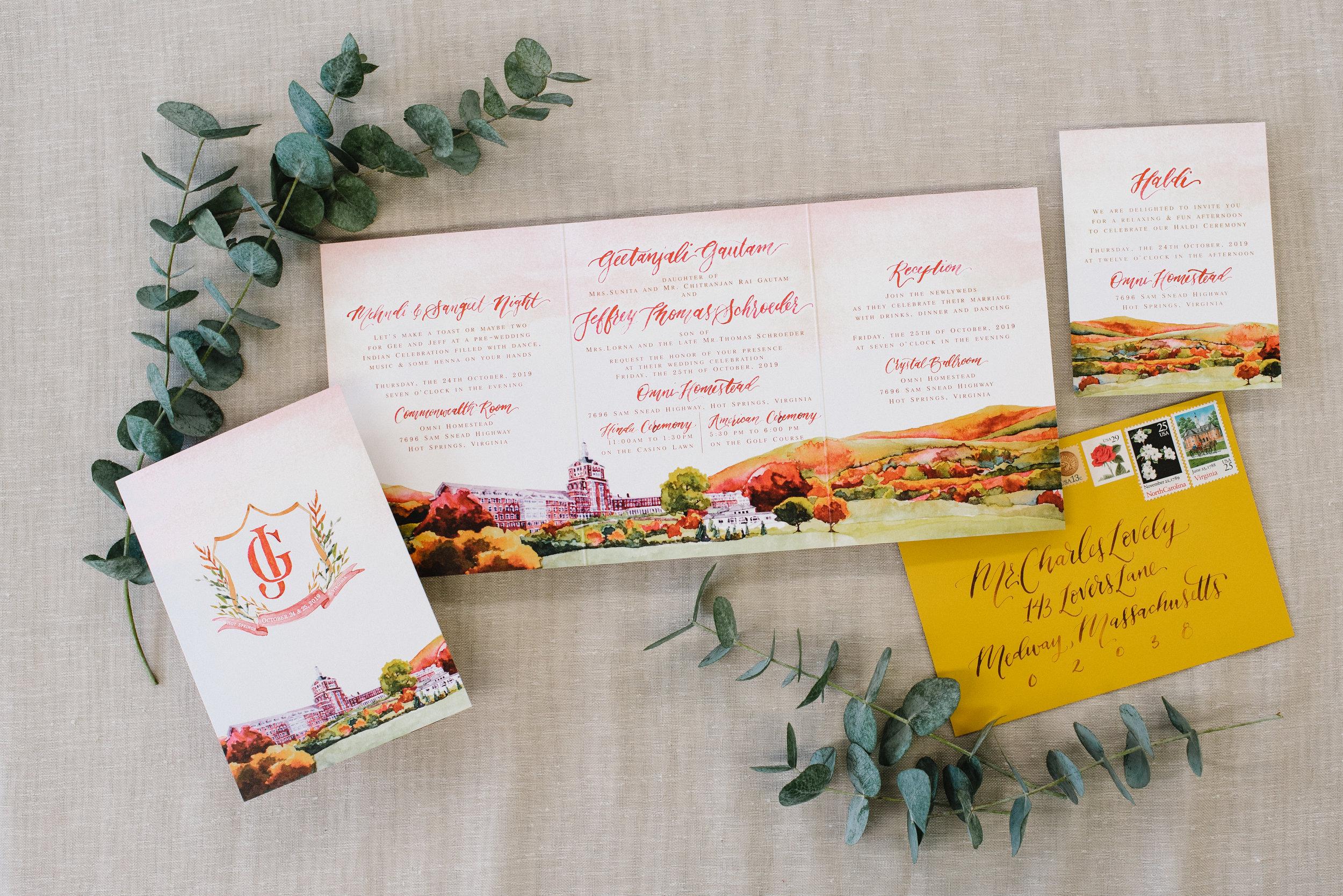 OMNI HOMESTEAD, HOT SPRINGS, VIRGINIA, WATERCOLOR WEDDING INVITATIONS