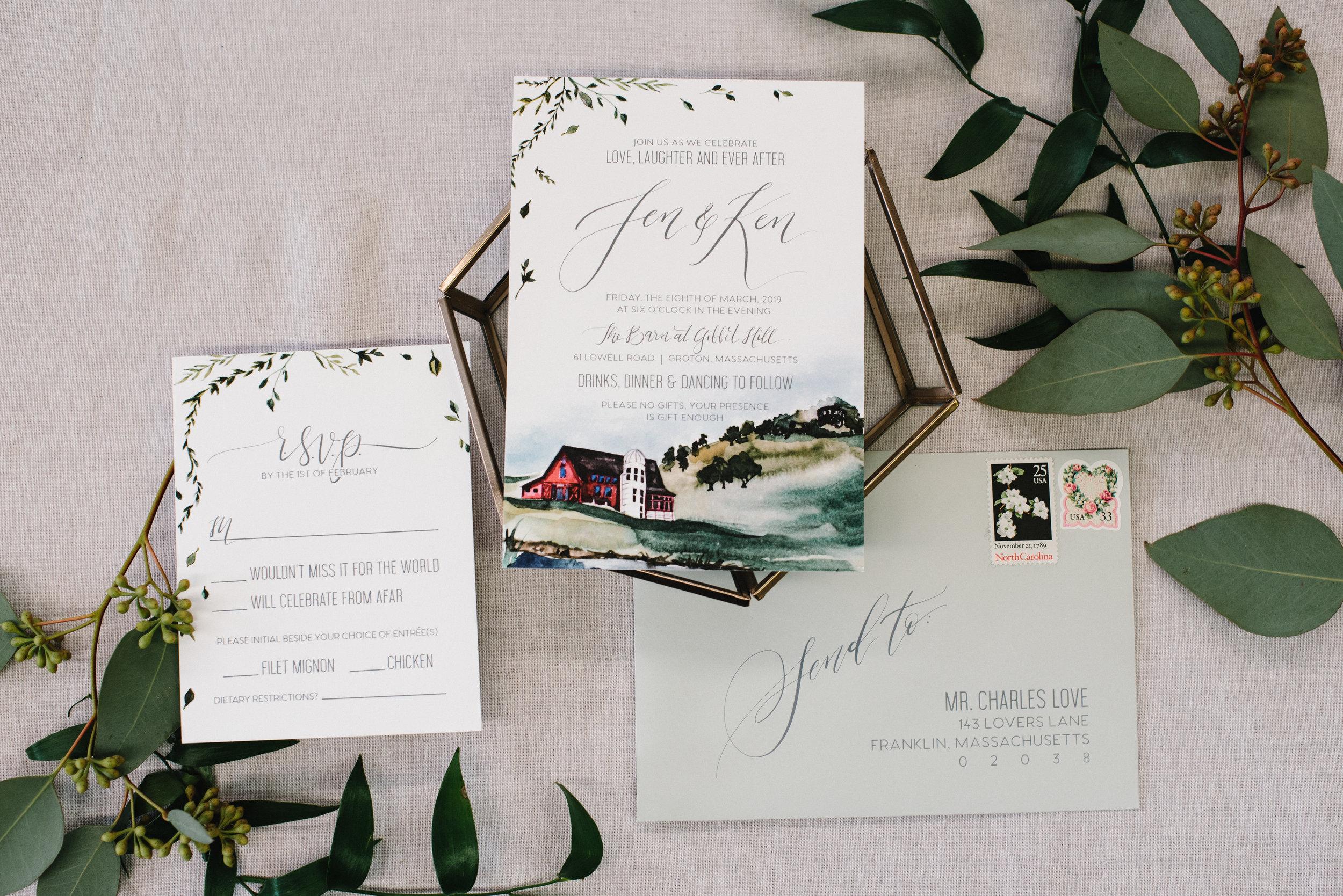 GIBBET HILL, GROTON, WATERCOLOR WEDDING INVITATIONS