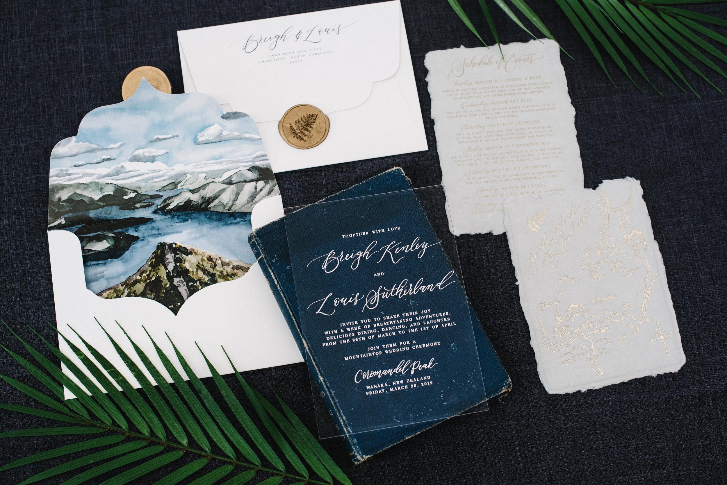 COROMANDEL PEAK, NEW ZEALAND, WATERCOLOR WEDDING INVITATIONS