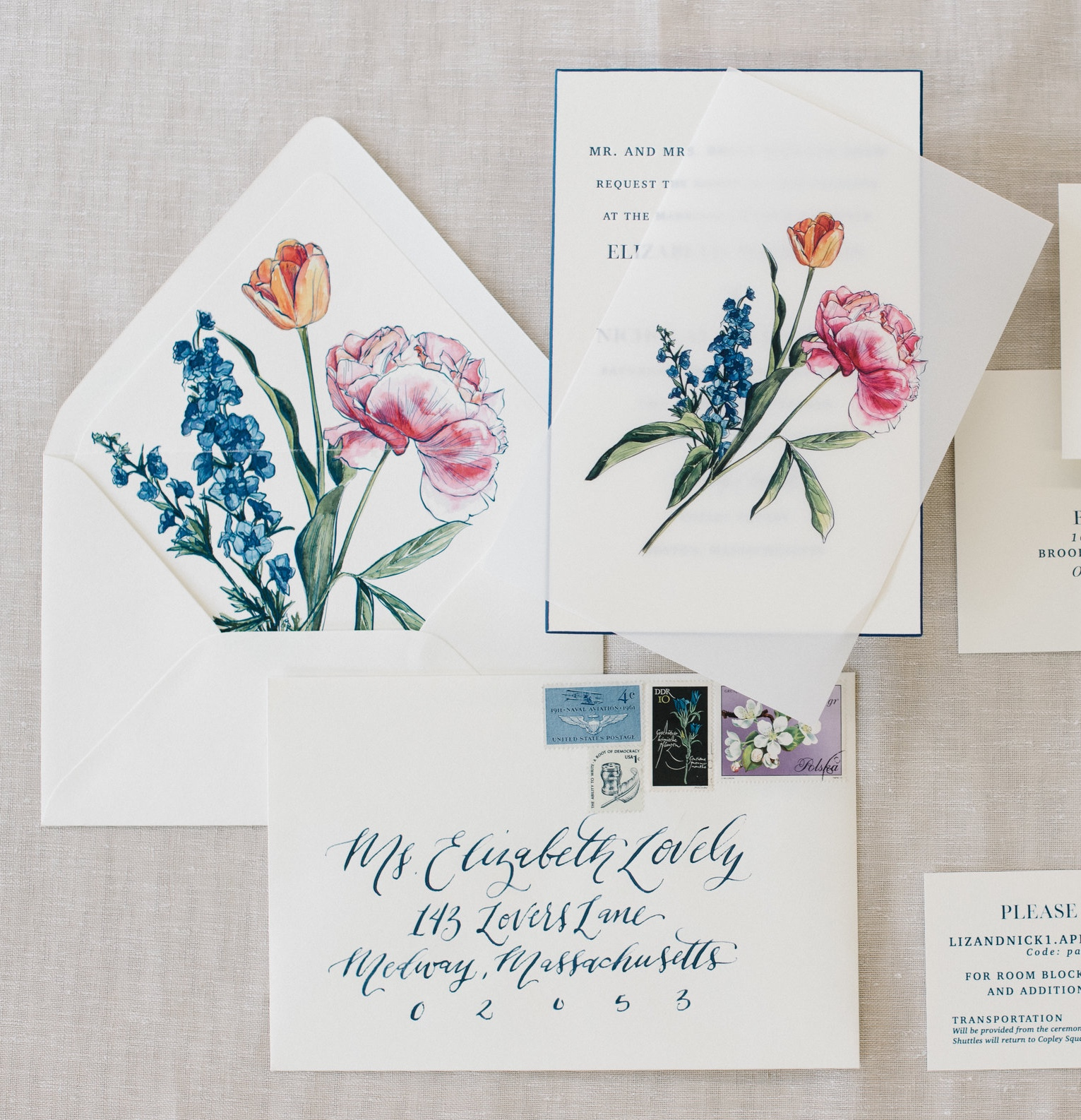 CLASSIC LETTERPRESS WITH VELLUM FLORAL OVERLAY WEDDING INVITATIONS