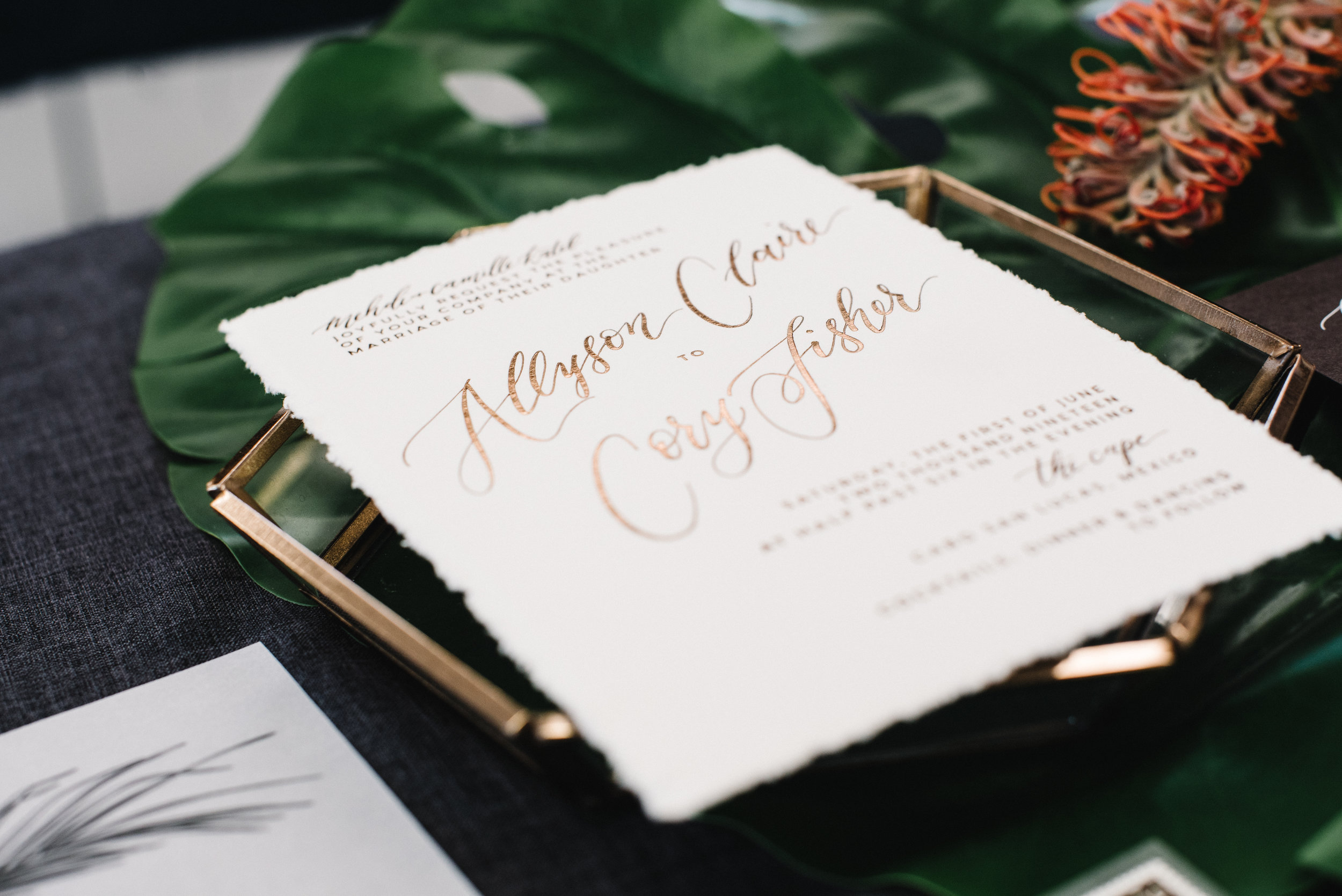 MODERN TROPICAL FOIL AND VELLUM WEDDING INVITATIONS