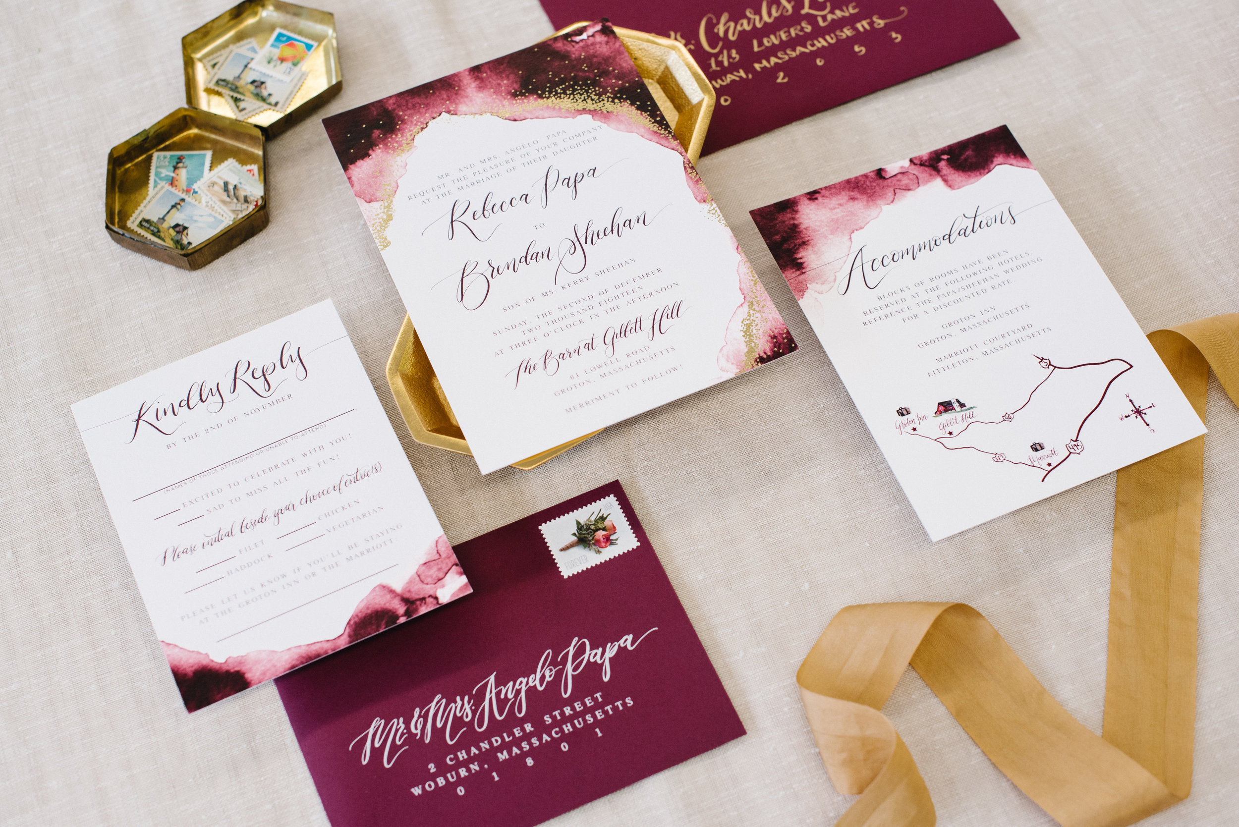 BURGUNDY WATERCOLOR AND GOLD FOIL WATERCOLOR WEDDING INVITATIONS