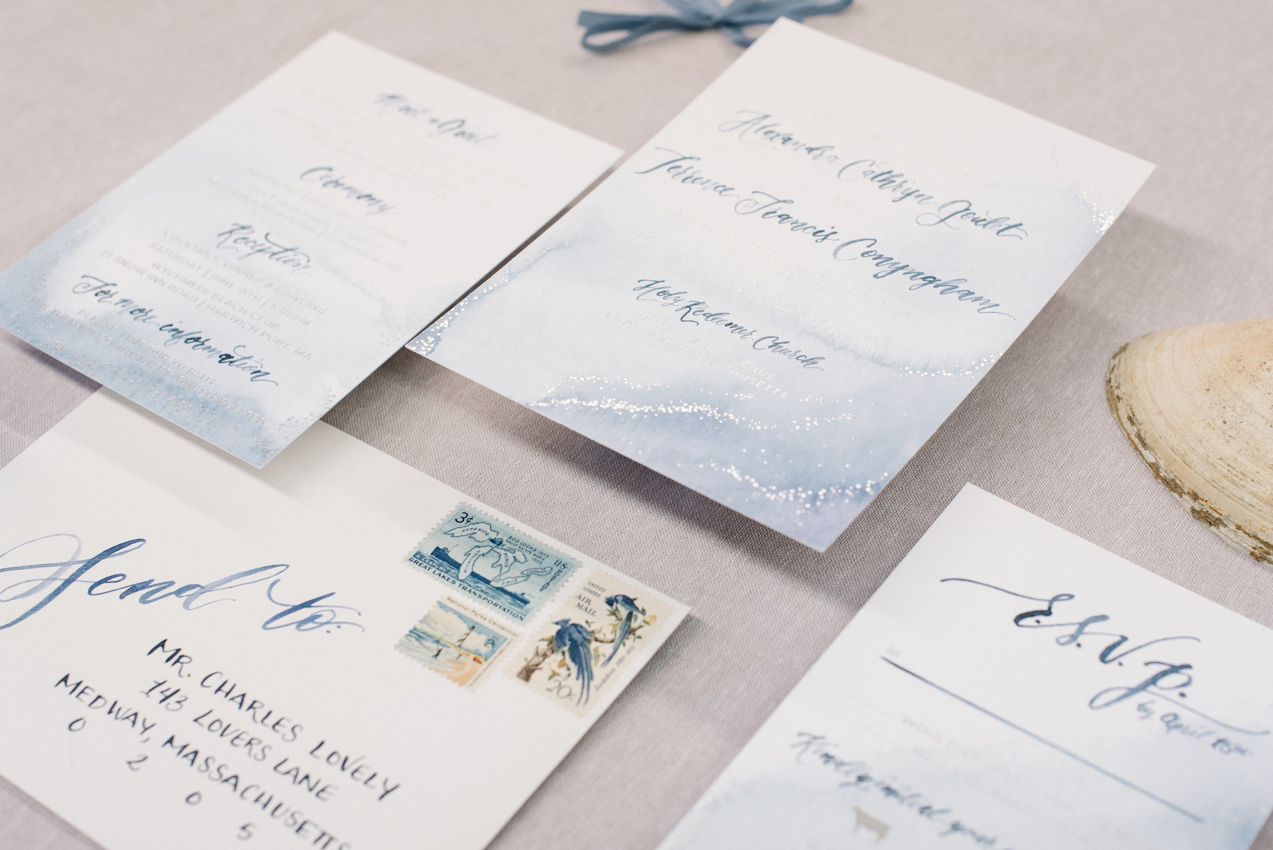 WATERCOLOR BEACH WITH SILVER FOIL DOT WEDDING INVITATIONS