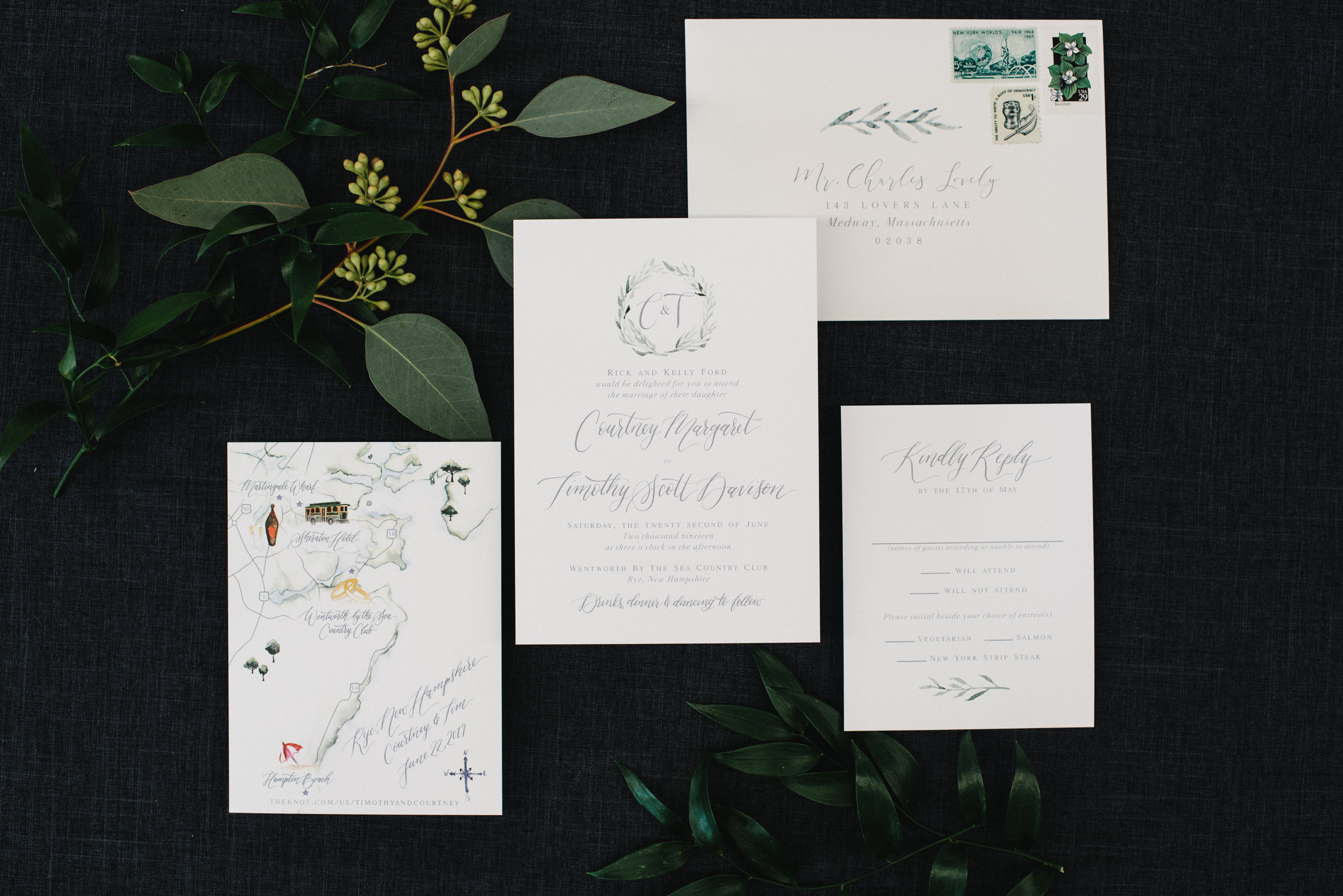 SIMPLE LAUREL WREATH WEDDING INVITATIONS WITH MAP