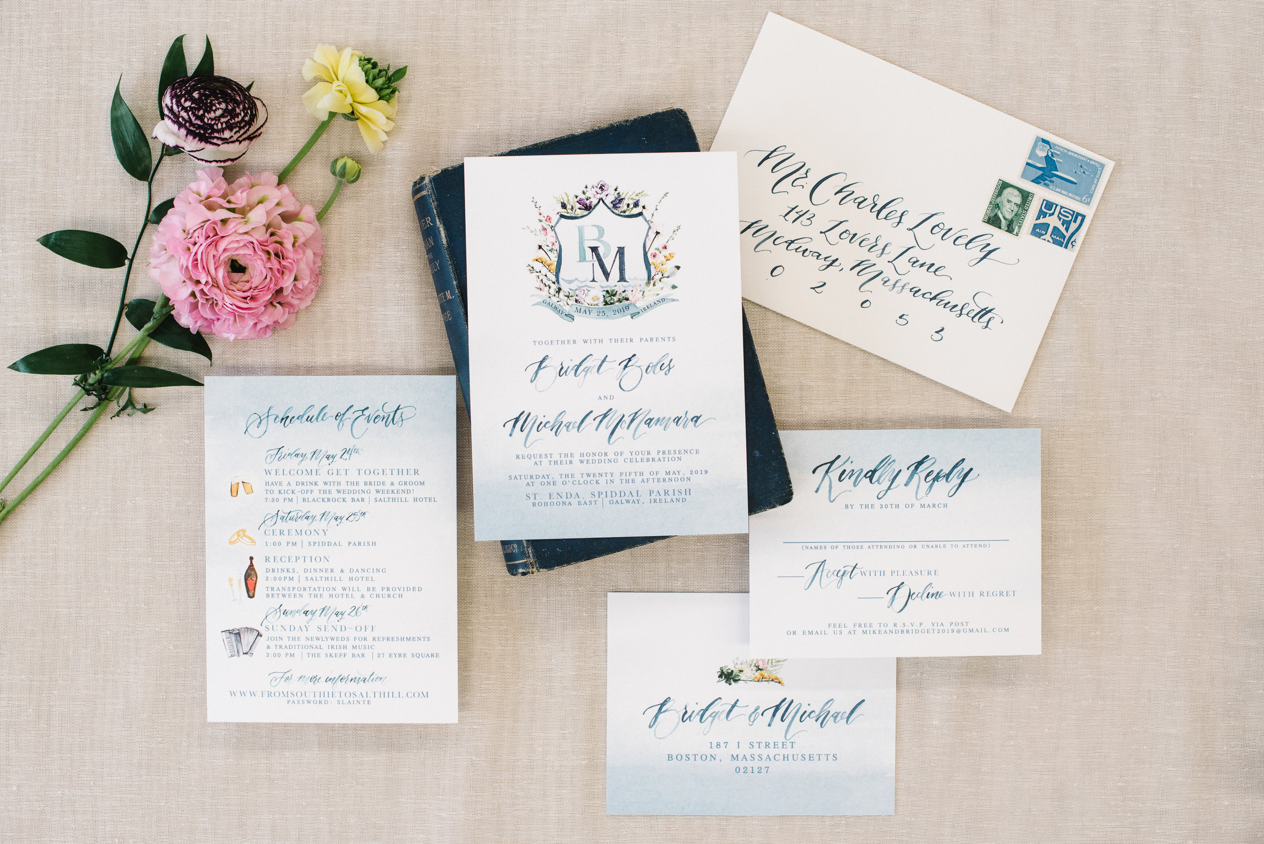 COLORFUL CUSTOM CREST WATERCOLOR WEDDING INVITATIONS