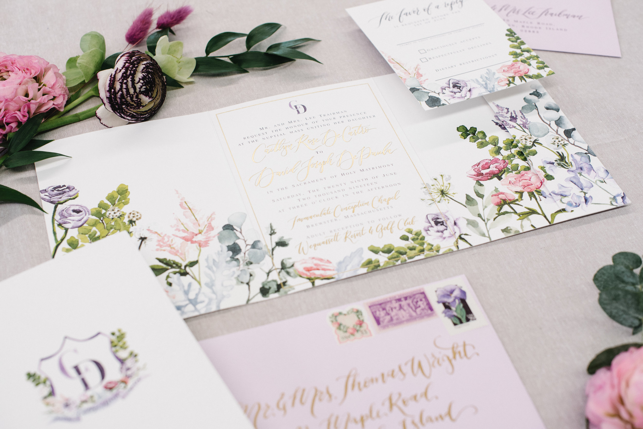 BRIGHT FLORAL TRIFOLD GOLD FOIL AND DEBOSSED WEDDING INVITATIONS