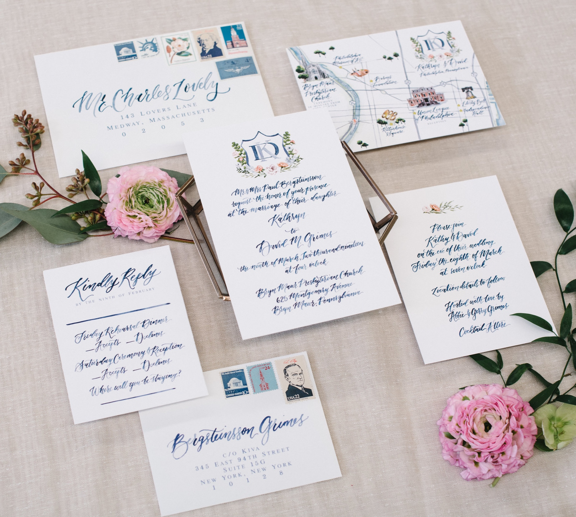 WATERCOLOR SCRIPT AND CREST PHILADELPHIA WEDDING INVITATIONS