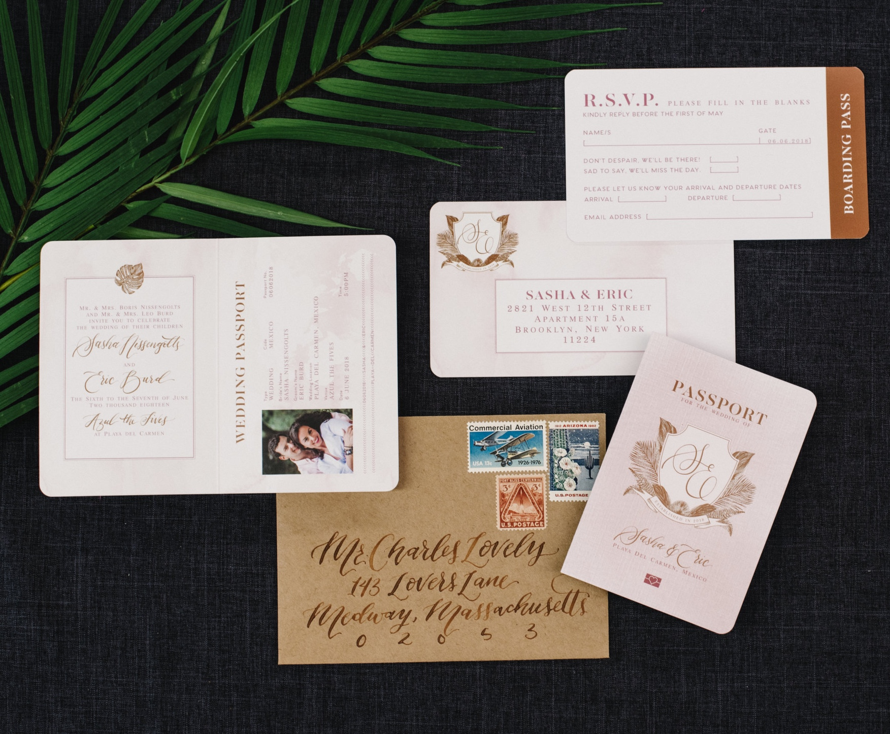 WATERCOLOR PASSPORT STYLE TROPICAL WEDDING INVITATIONS