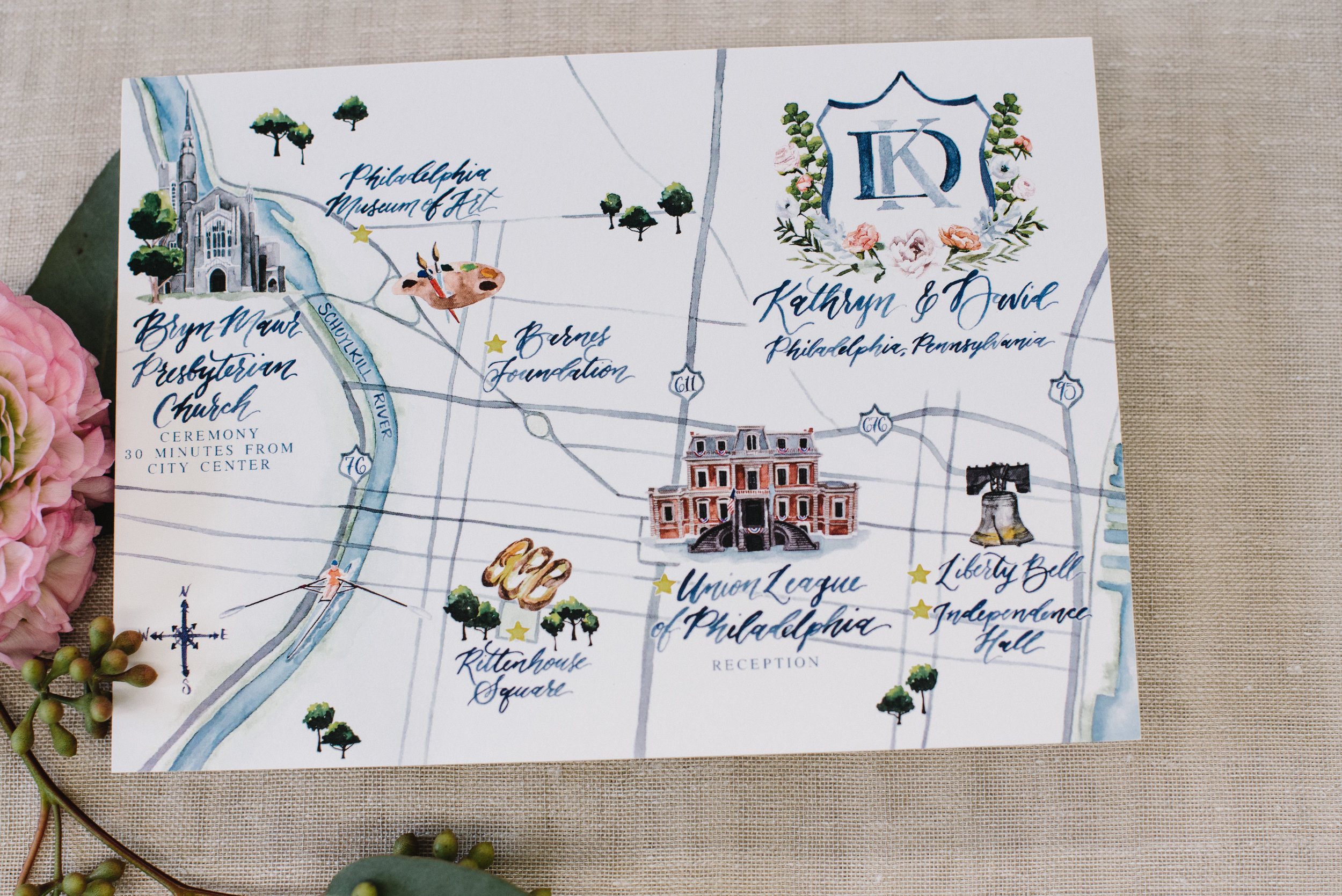 Philadelphia, Pennsylvania Watercolor Wedding Map