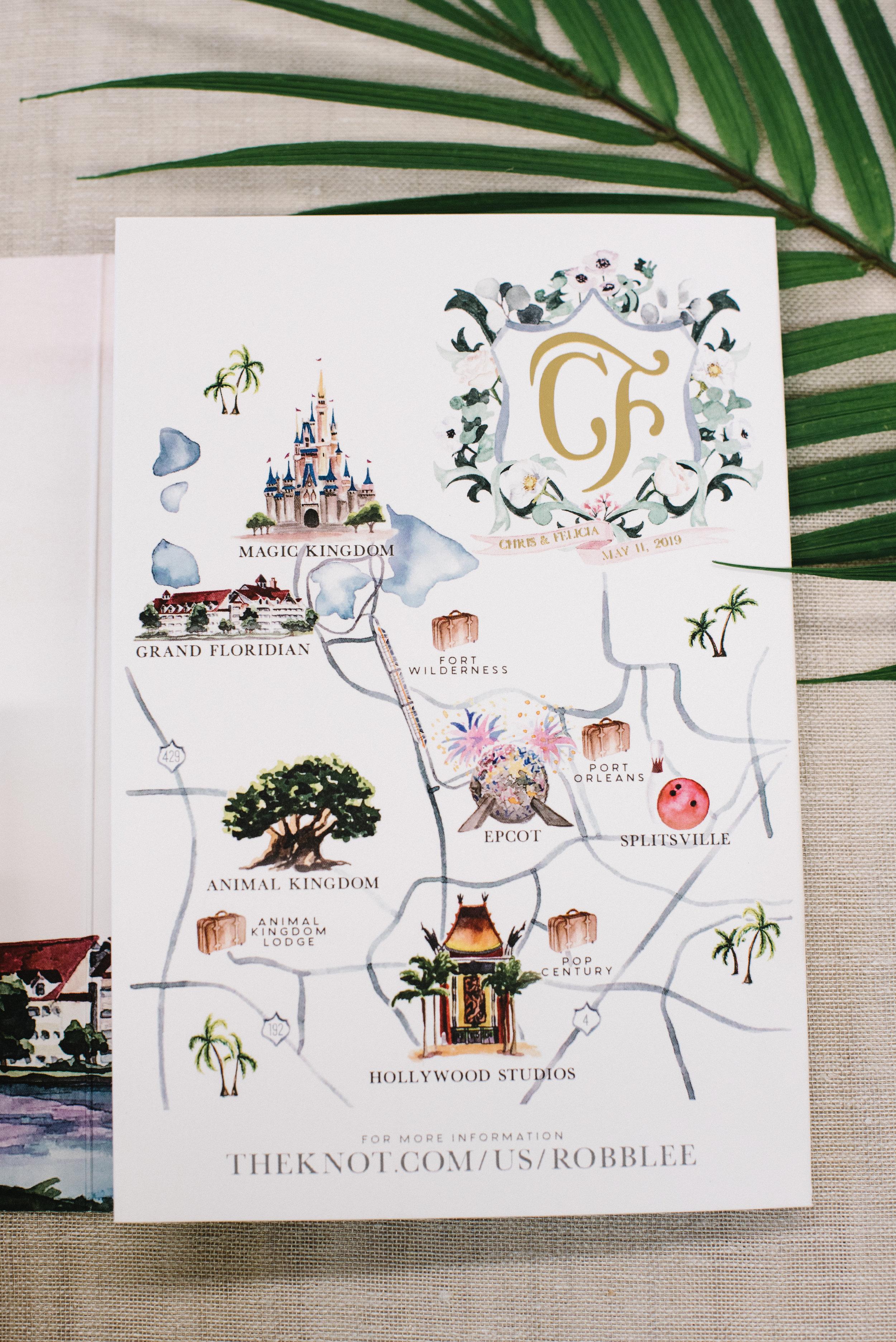 Disney World Watercolor Wedding Map