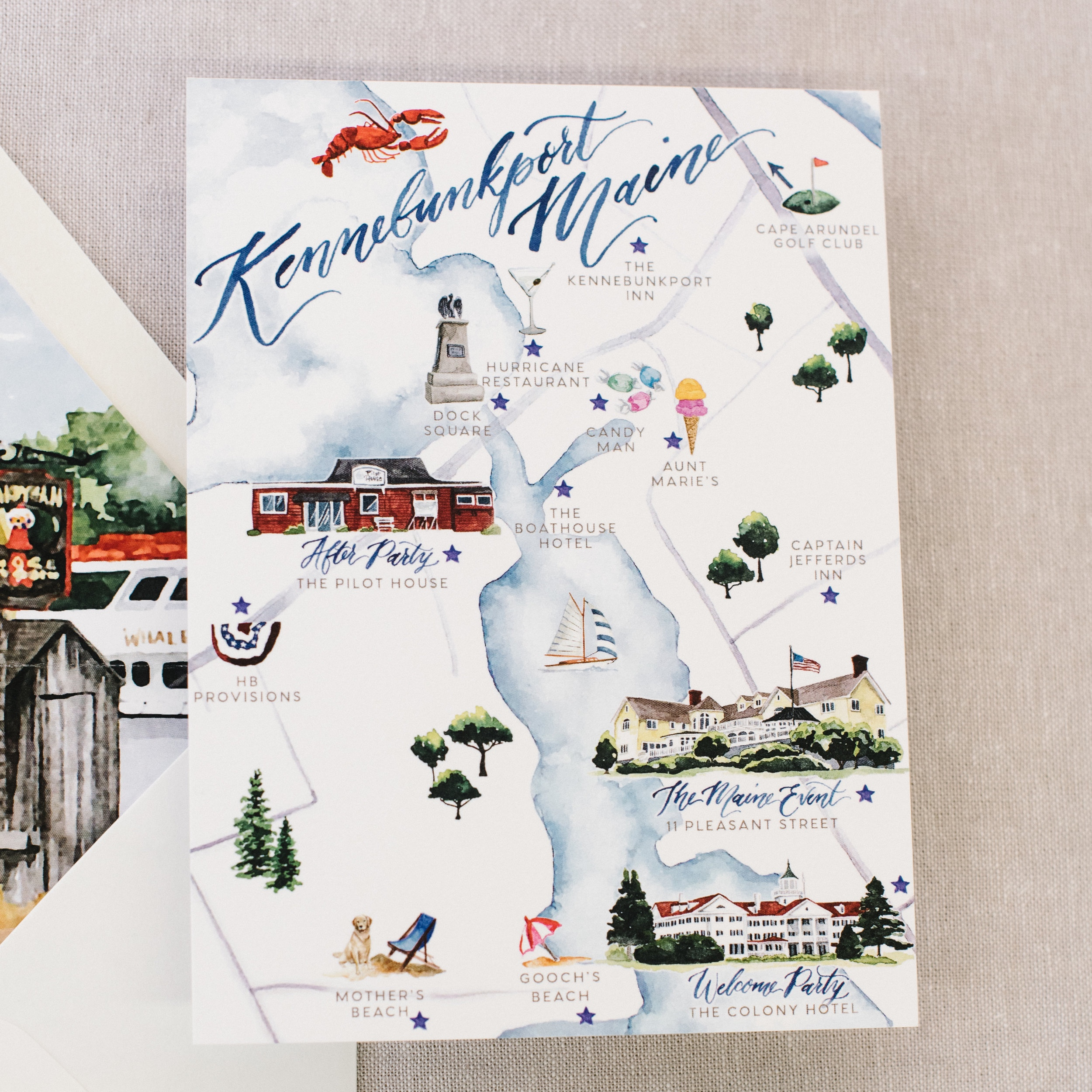 Kennebunkport, Maine Watercolor Wedding Map