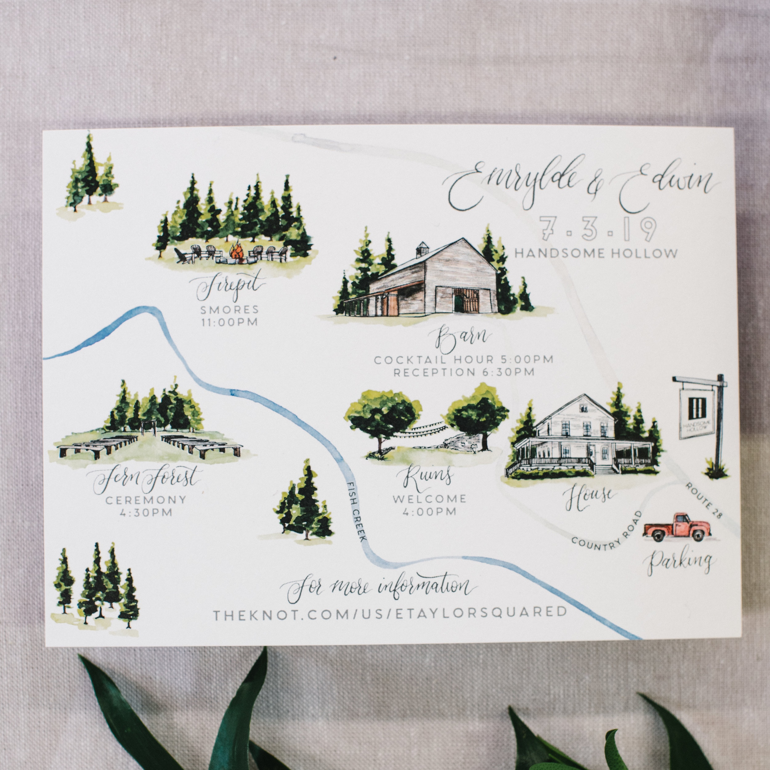Handsome Hollow Watercolor Wedding Map