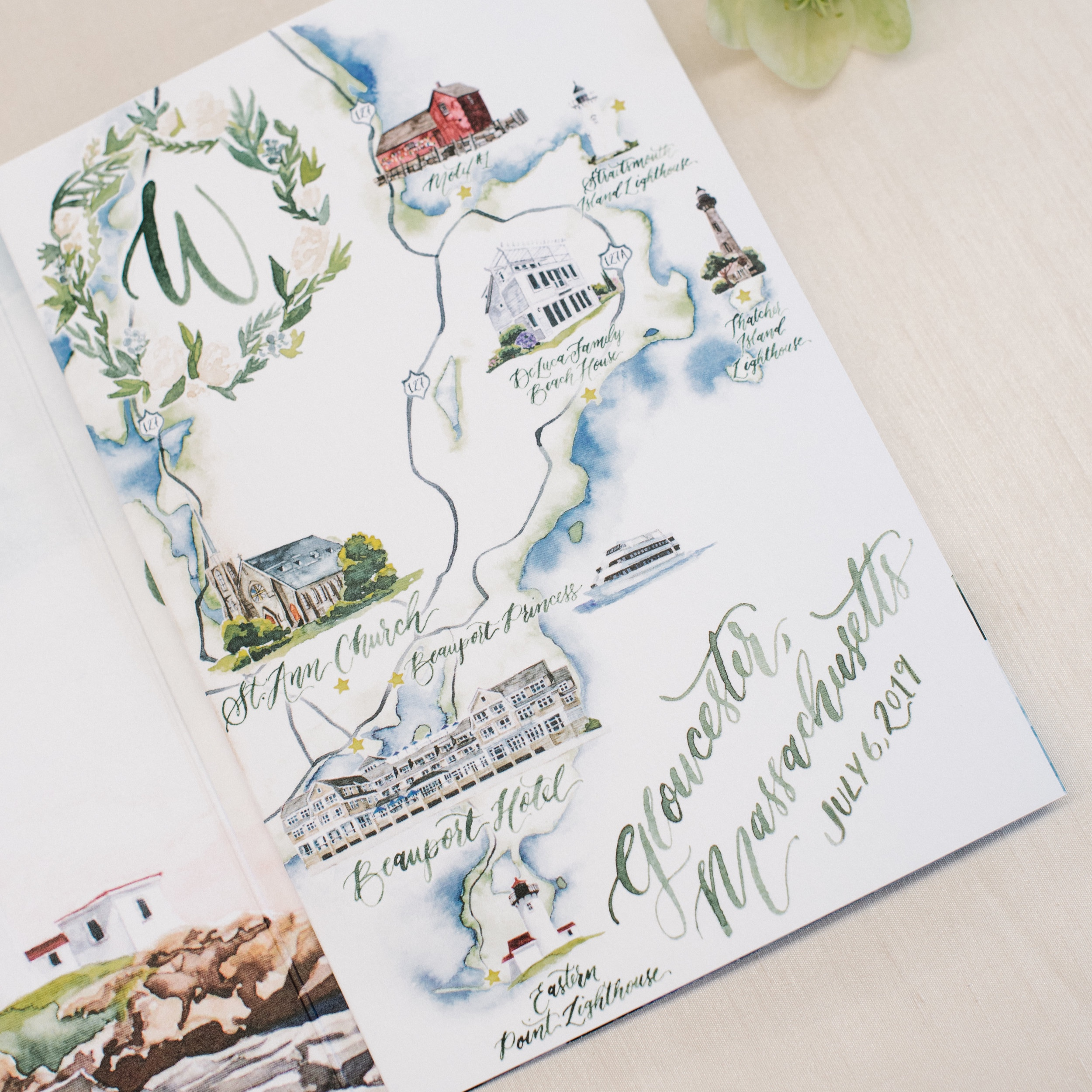 Gloucester, Massachusetts Watercolor Wedding Map