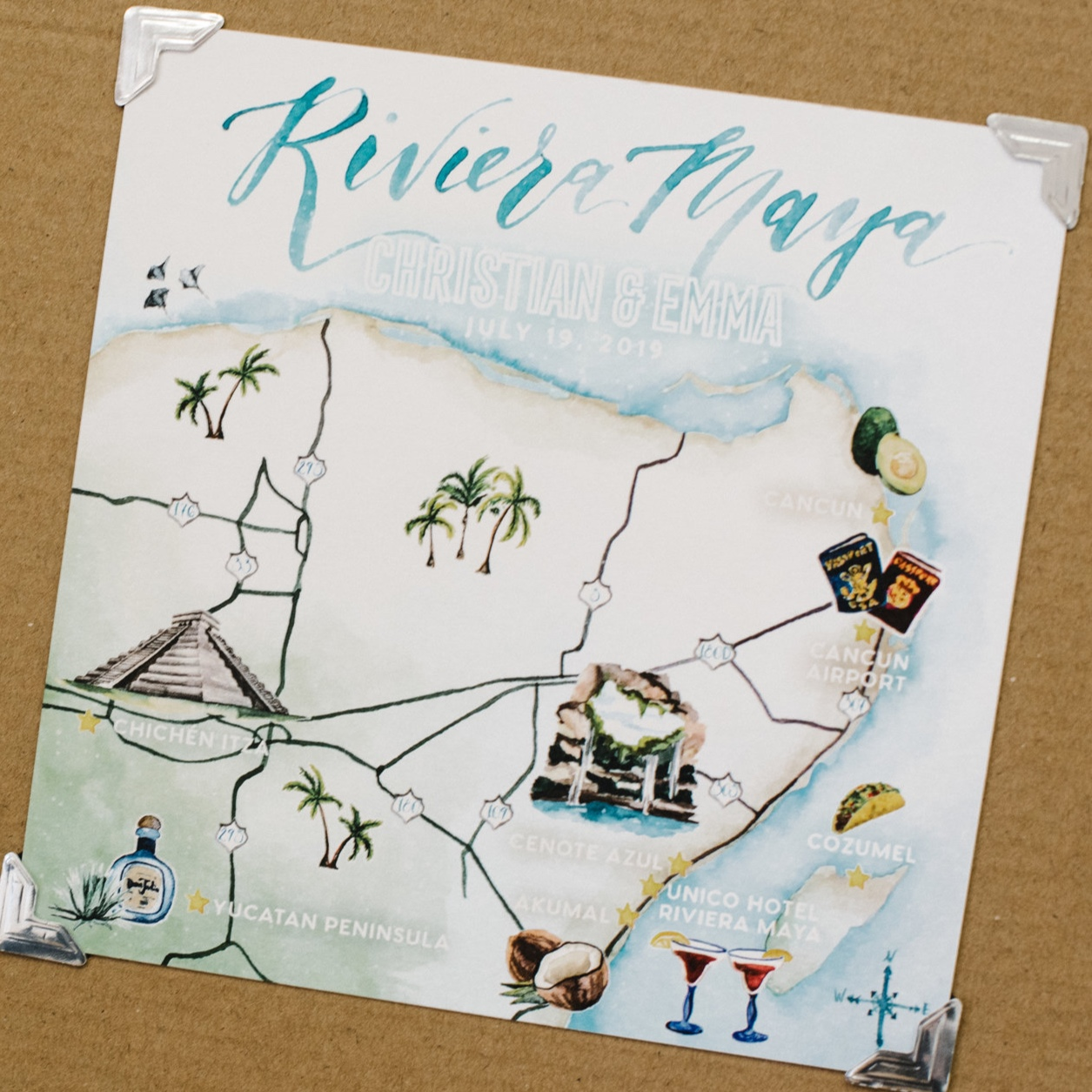 Riviera Maya, Mexico Watercolor Wedding Map