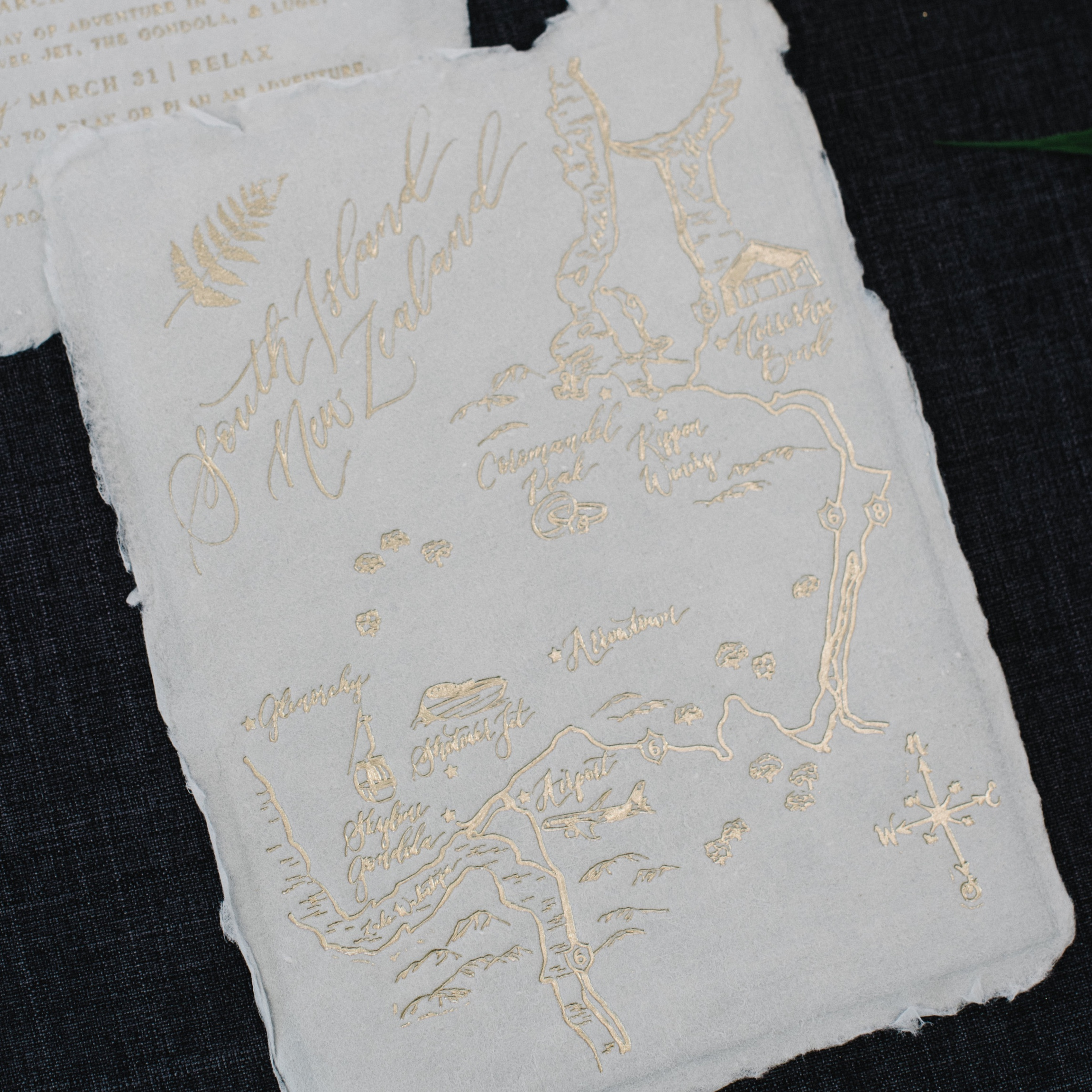New Zealand Foil Handmade Paper Wedding Map