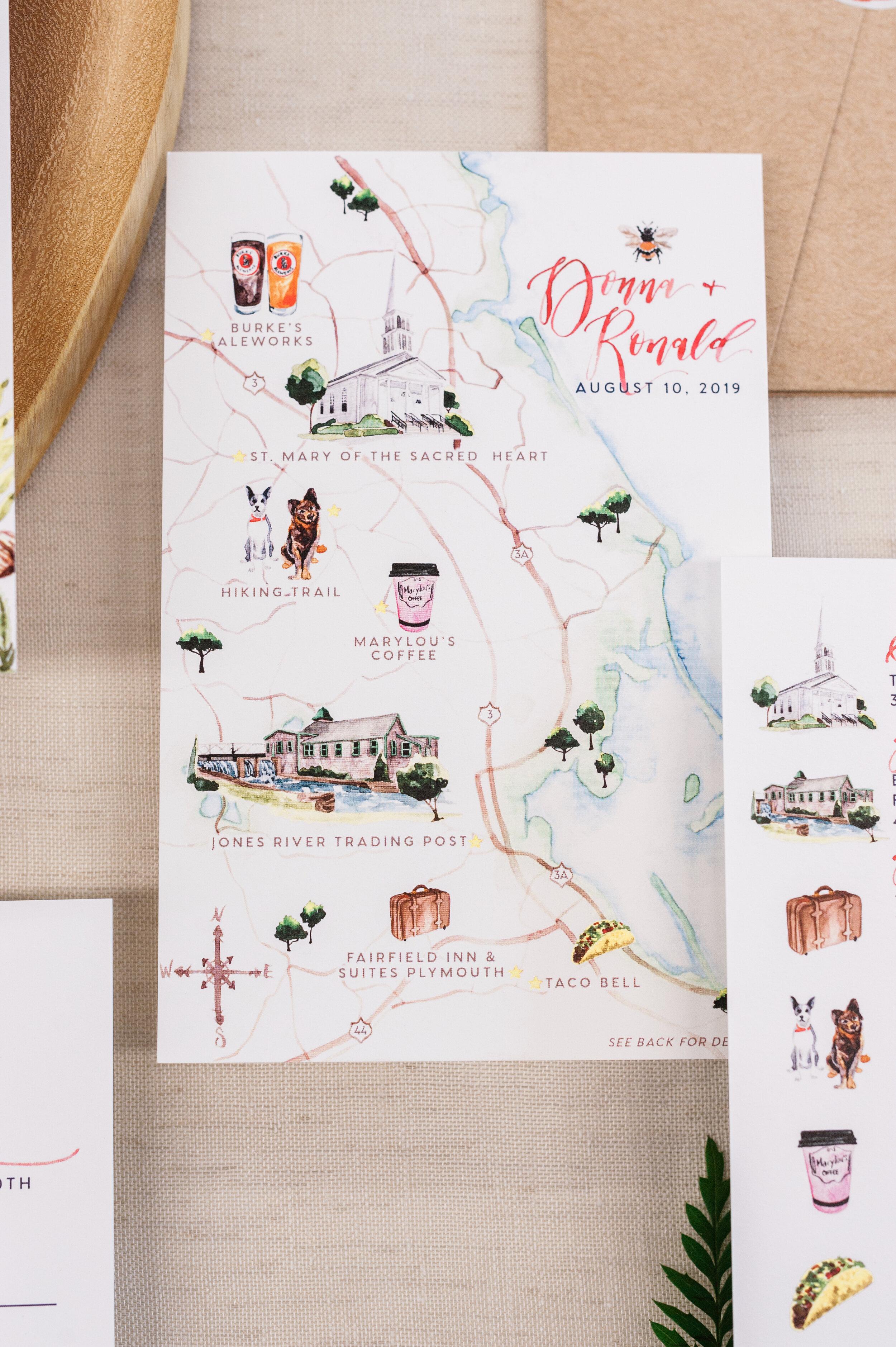 Plymouth, Massachusetts Watercolor wedding Map