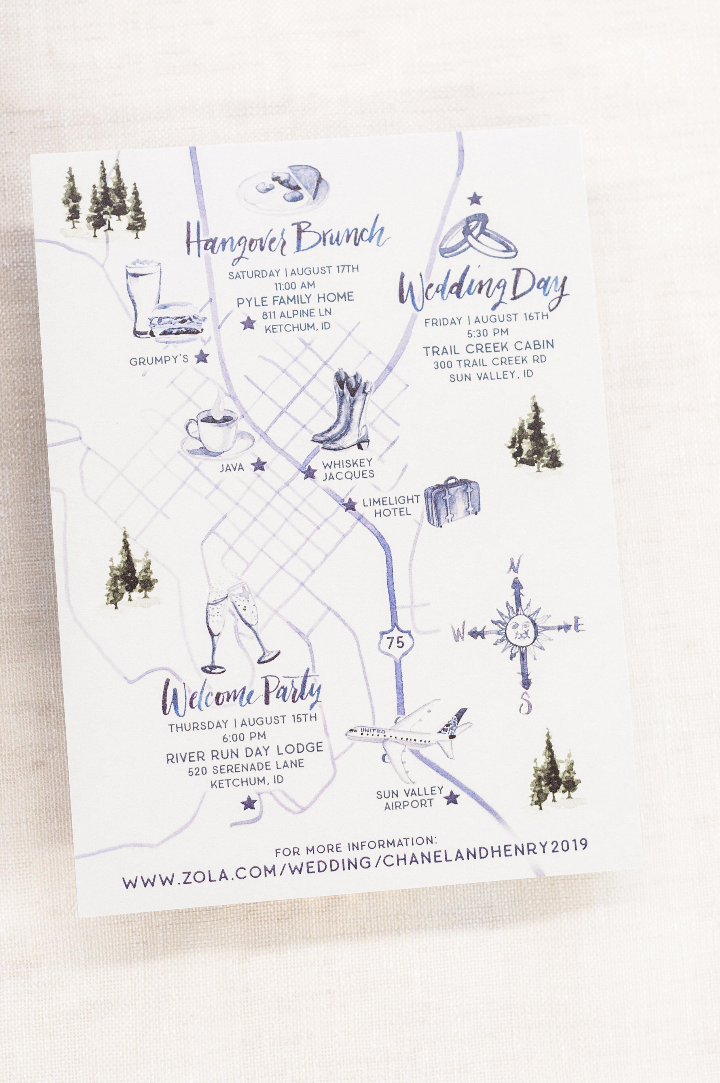 Sun Valley Idaho Wedding Map