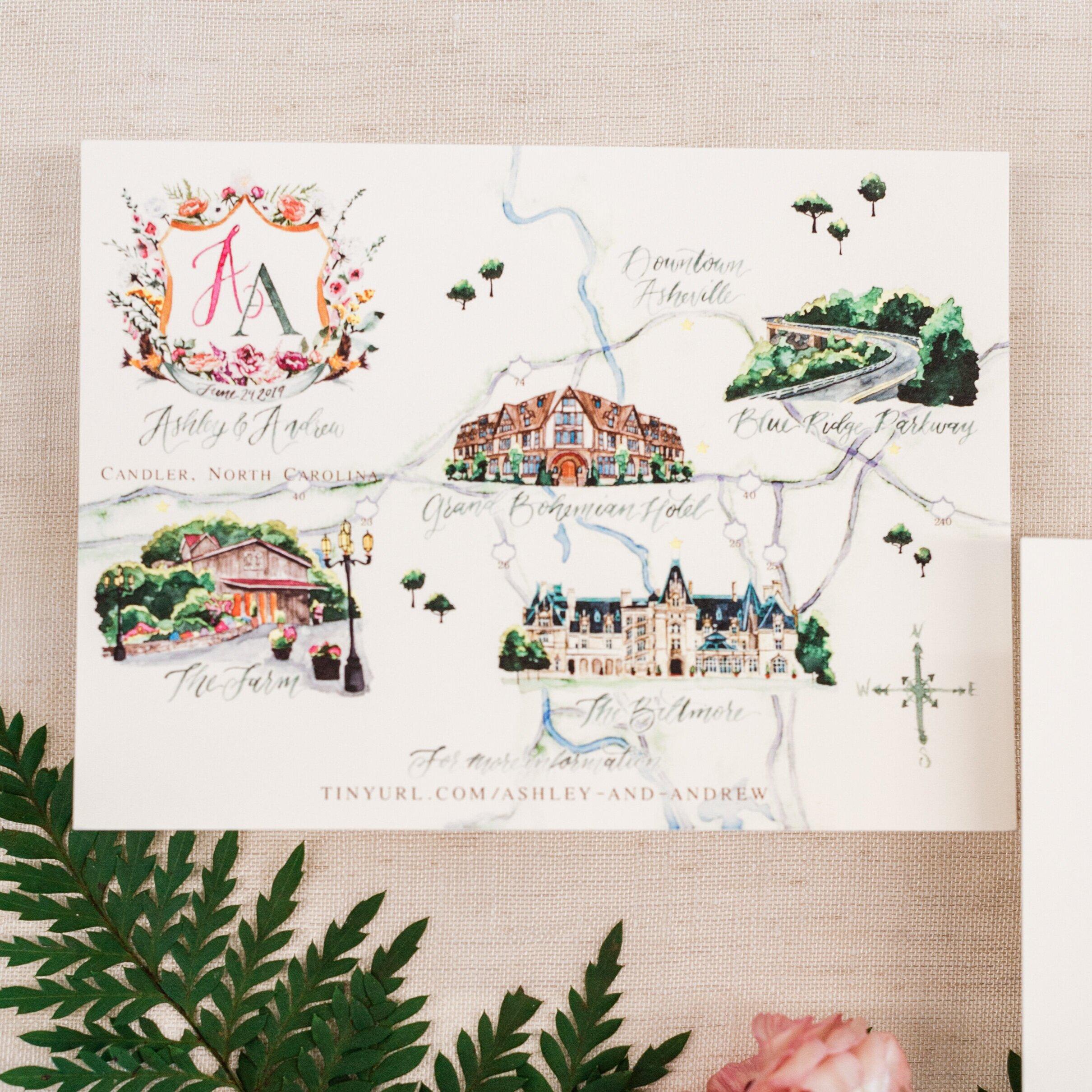 Chandler, North Carolina Watercolor Wedding Map