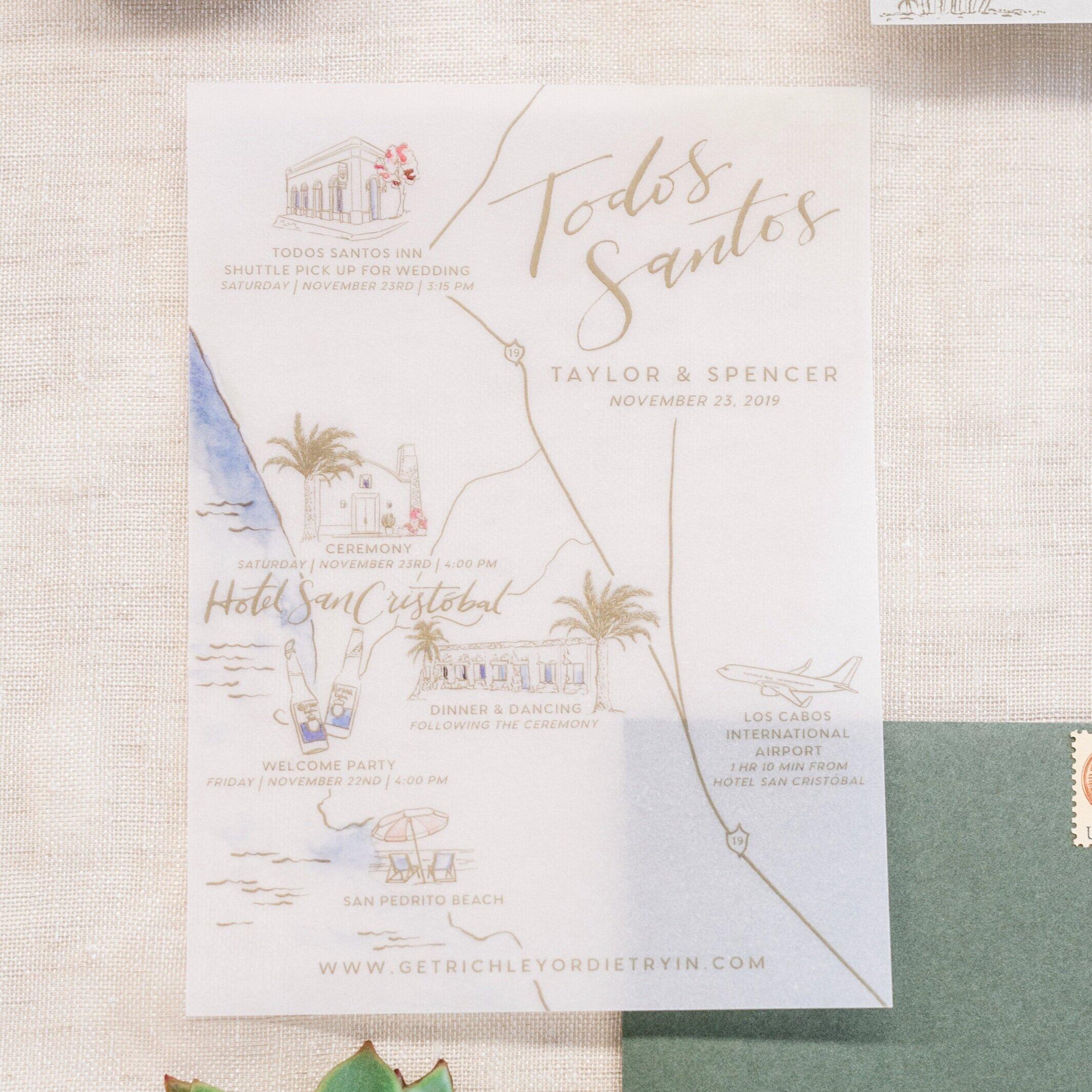 San Cristobal Mexico Vellum Wedding Map