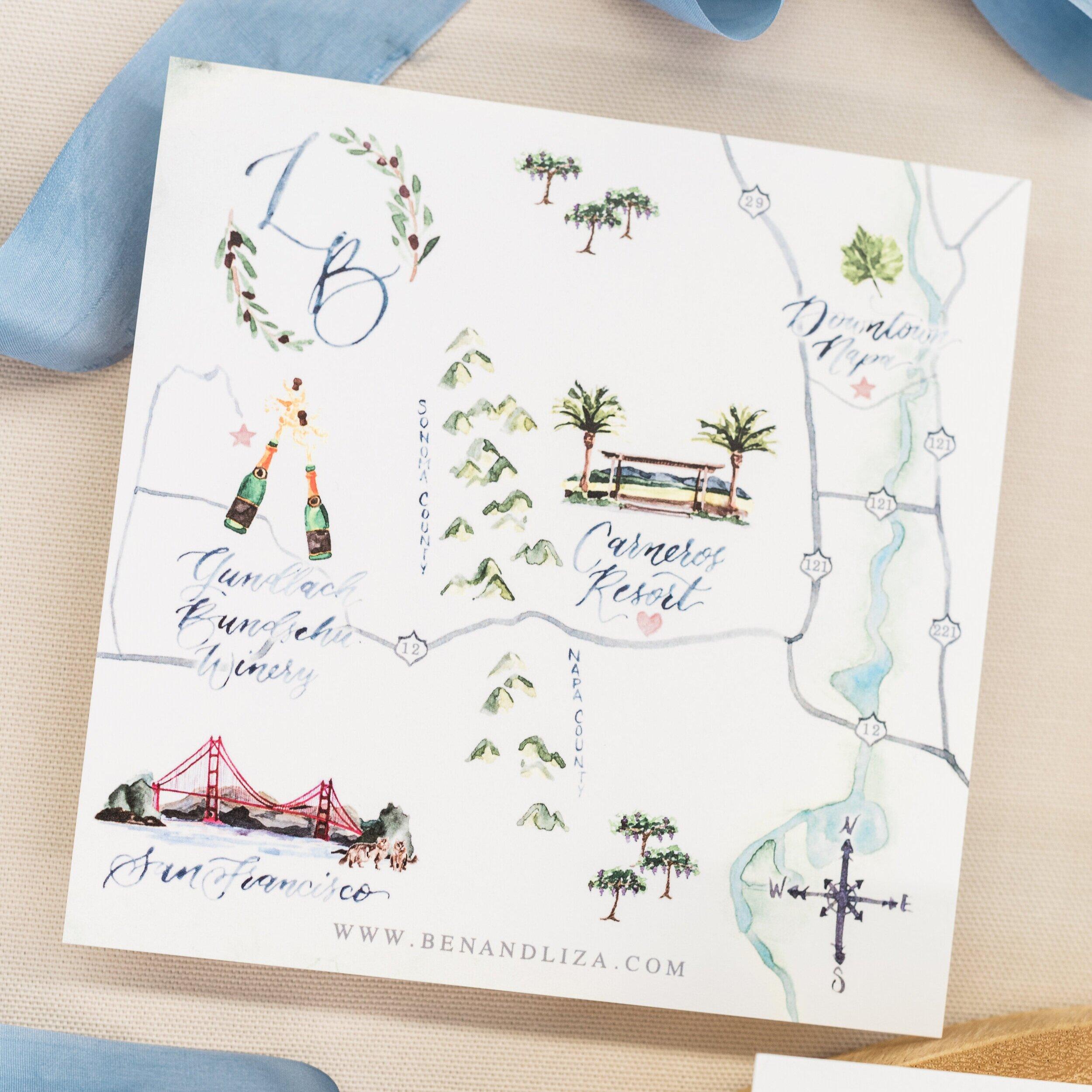 Napa, California Watercolor Wedding Map