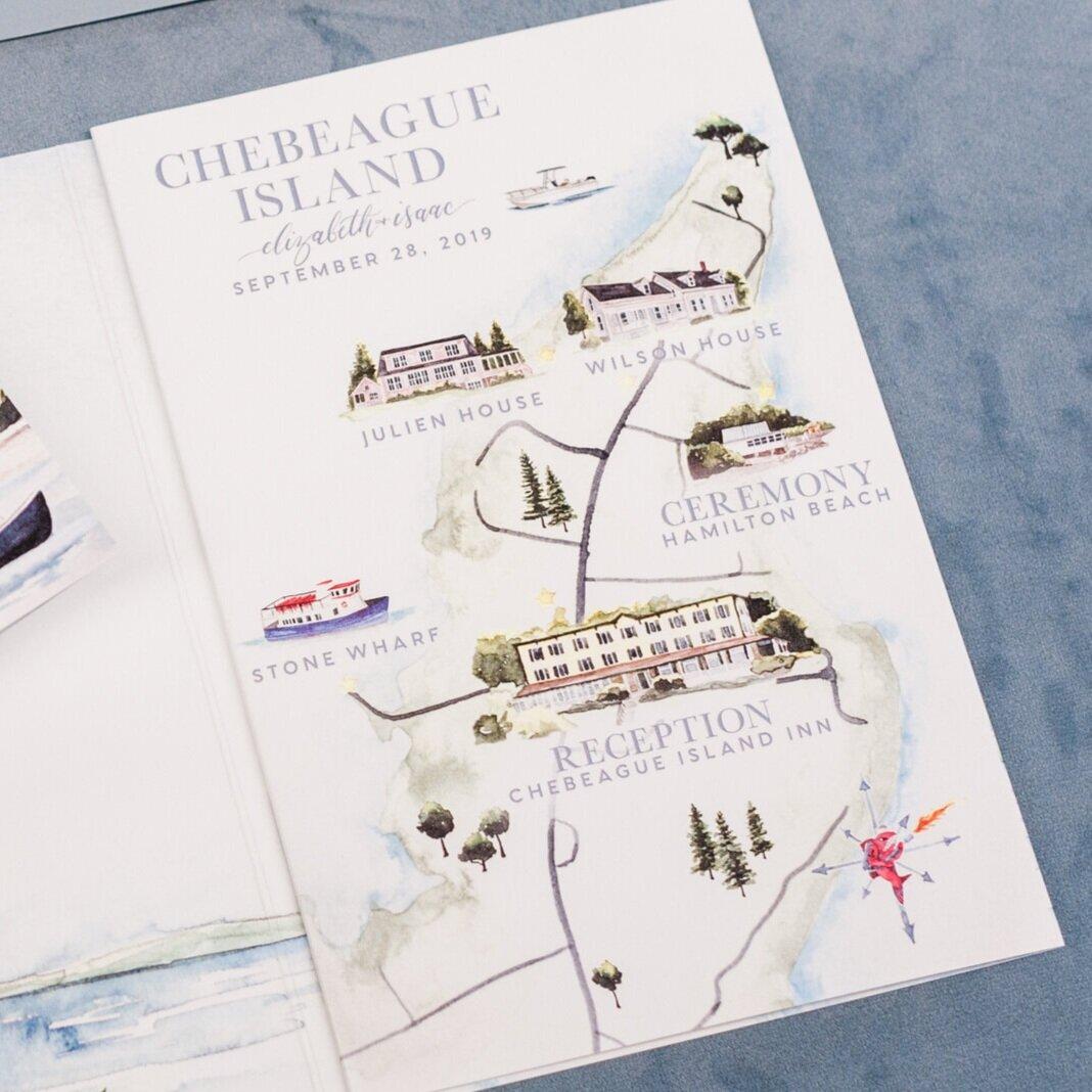 Chebeague Island Watercolor Wedding Map