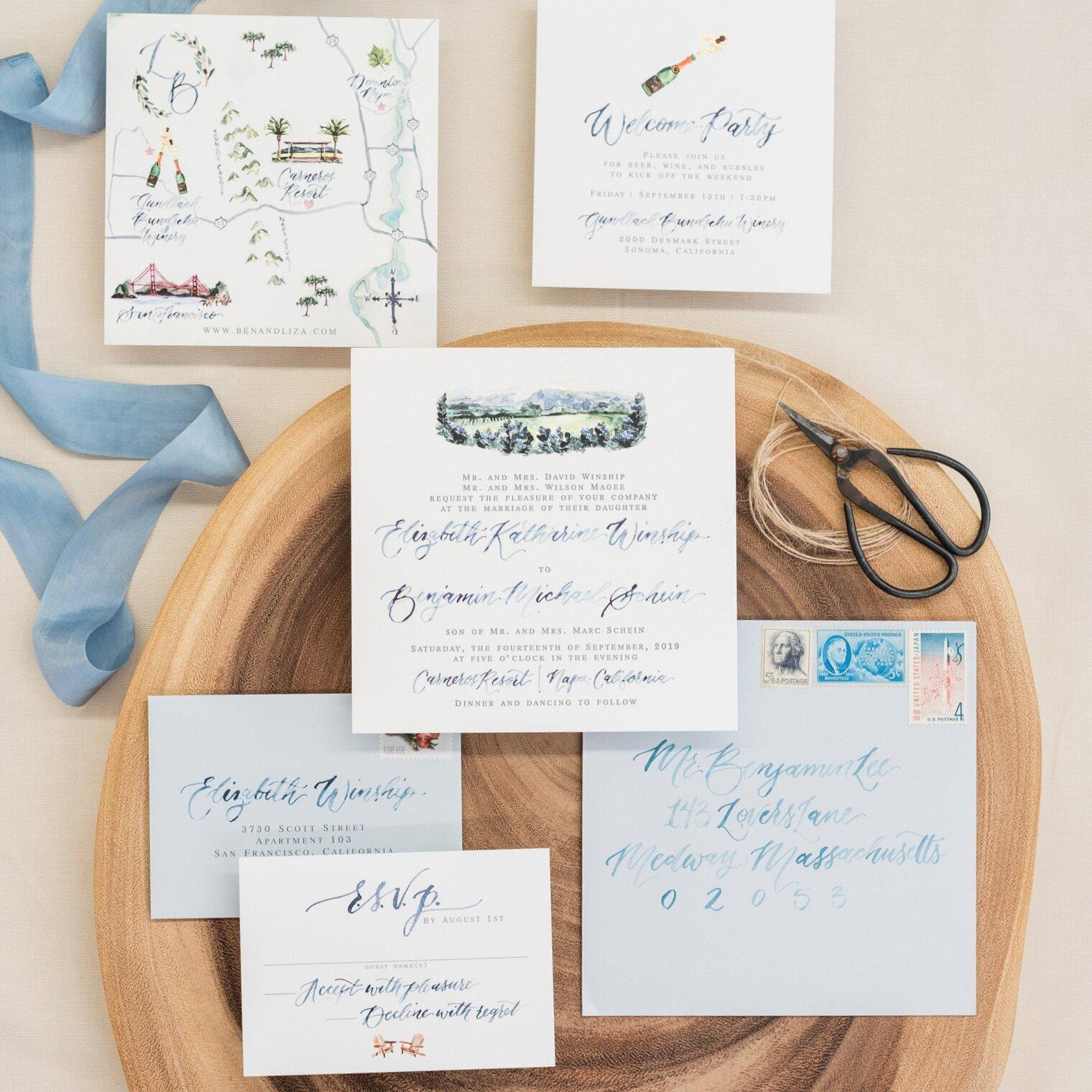 CARNEROS RESORT NAPA WATERCOLOR WEDDING INVITATIONS